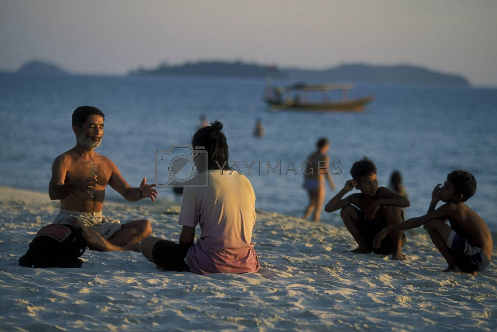 the beach at the coast of the Town of Sihanoukville in cambodia in southeastasia.