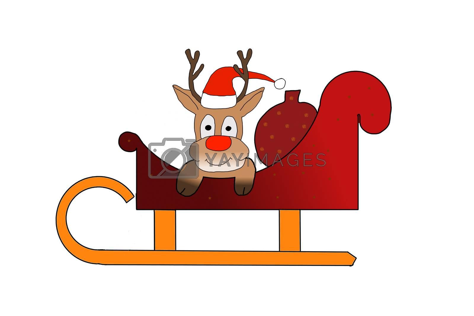 Rudolph sitting in Santas sleigh on white background