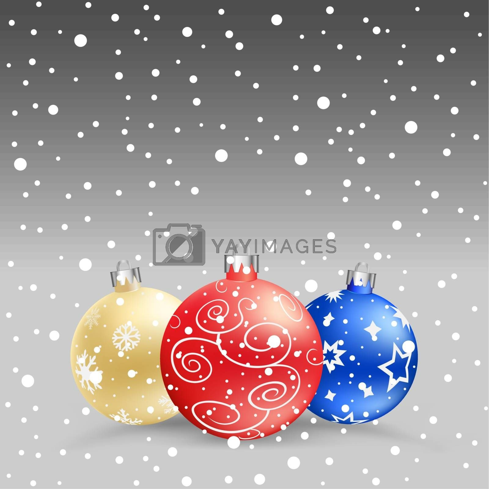 The multicolored christmas bauble and snow on the gray background