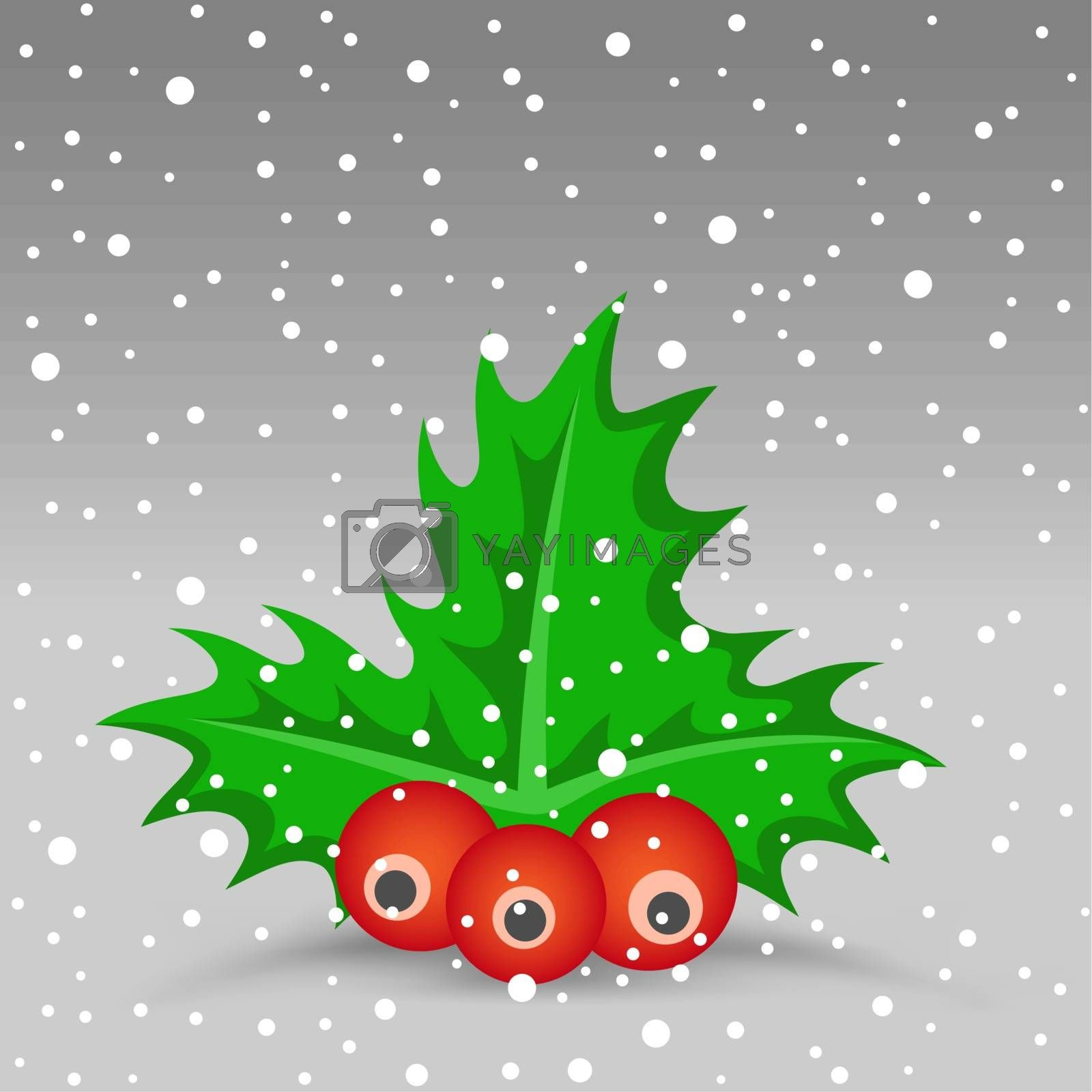 The Christmas berry and snow on the gray background