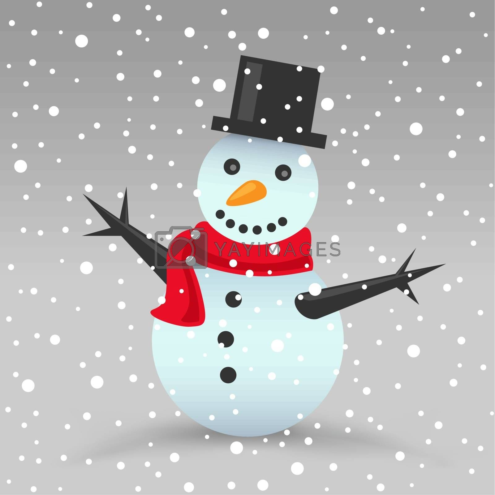 The Christmas snowman with red scarf and snow gray background