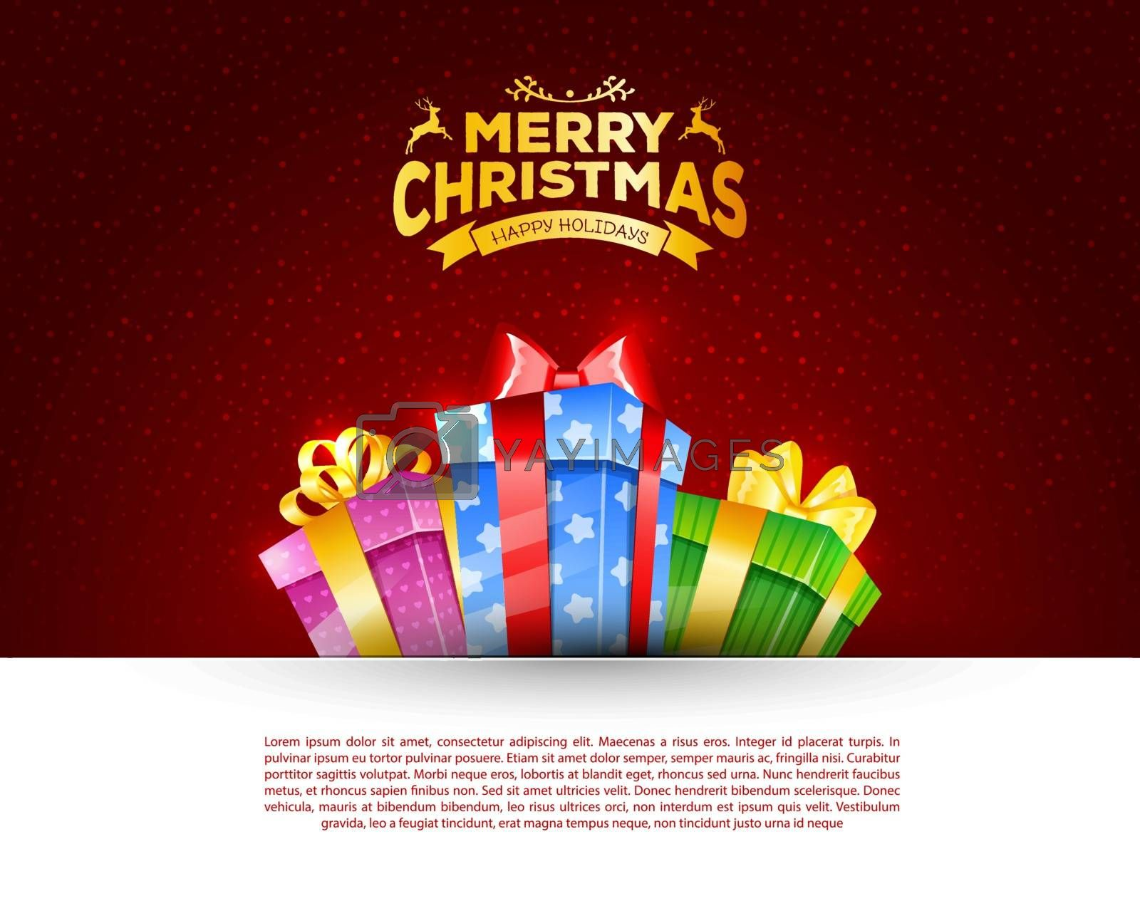 Vector illustration of Colorful gift box with bows