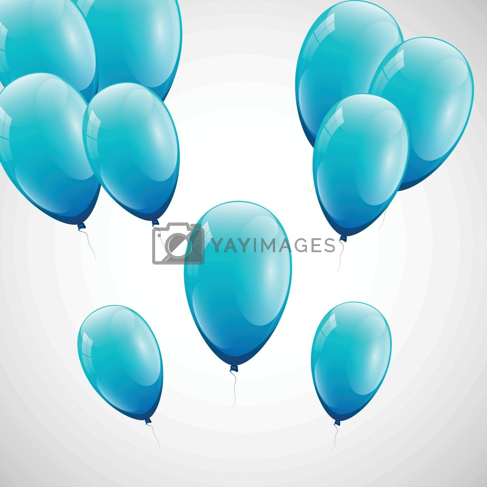 Blue balloons with white background, stock vector