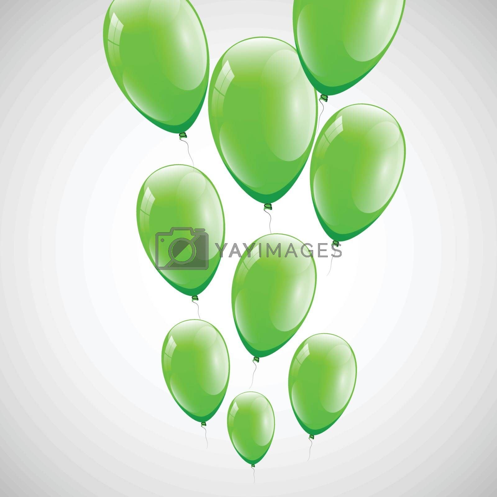 Green balloons with white background, stock vector
