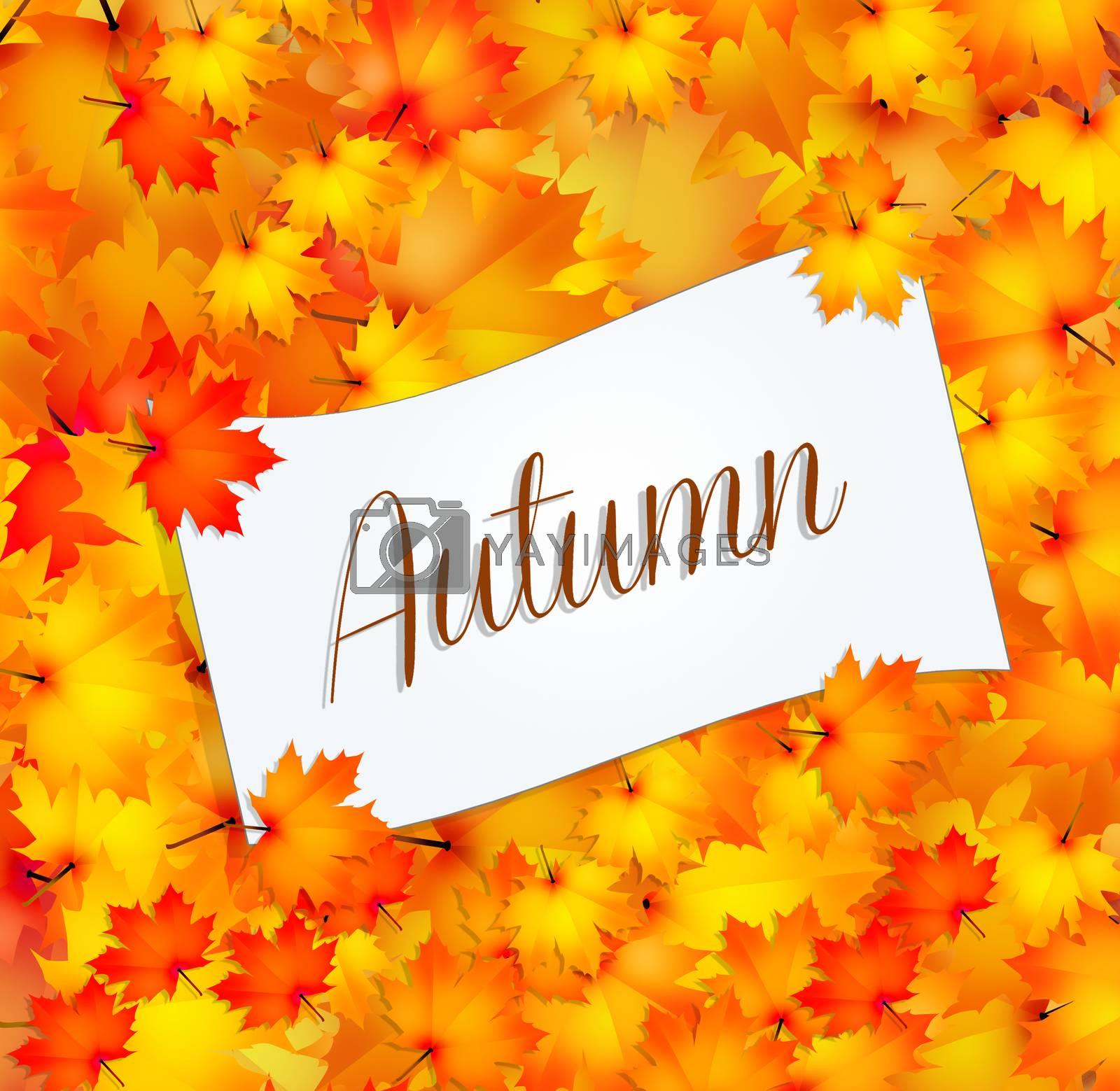illustration of autumn postcard