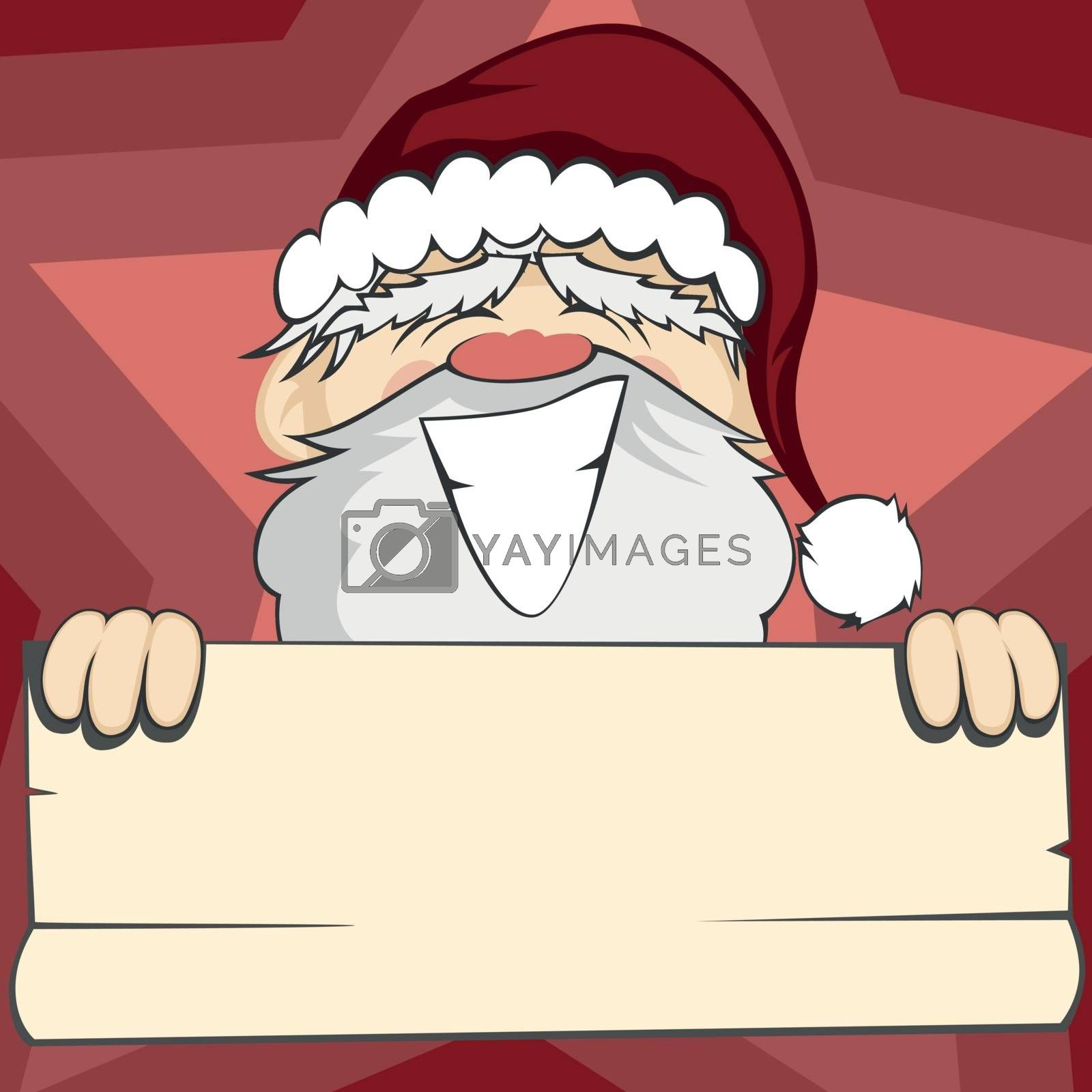 Santa Claus is smiling and holding a bulletin paper (within your text can be placed with background)