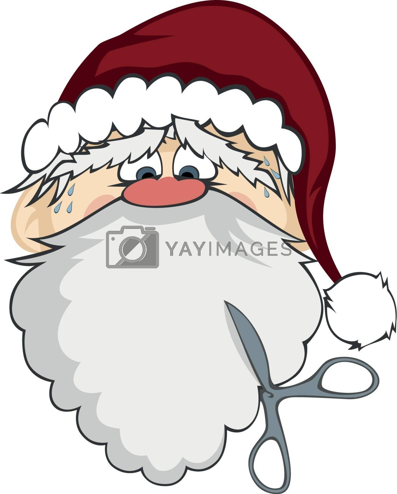 Santa Claus with scissors about to cut his beard (isolated on white)