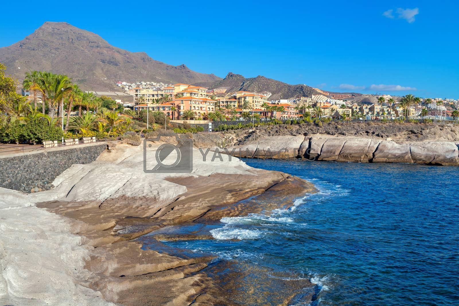 Rocky coastline of Costa Adeje. Tenerife. Canary Islands. Spain
