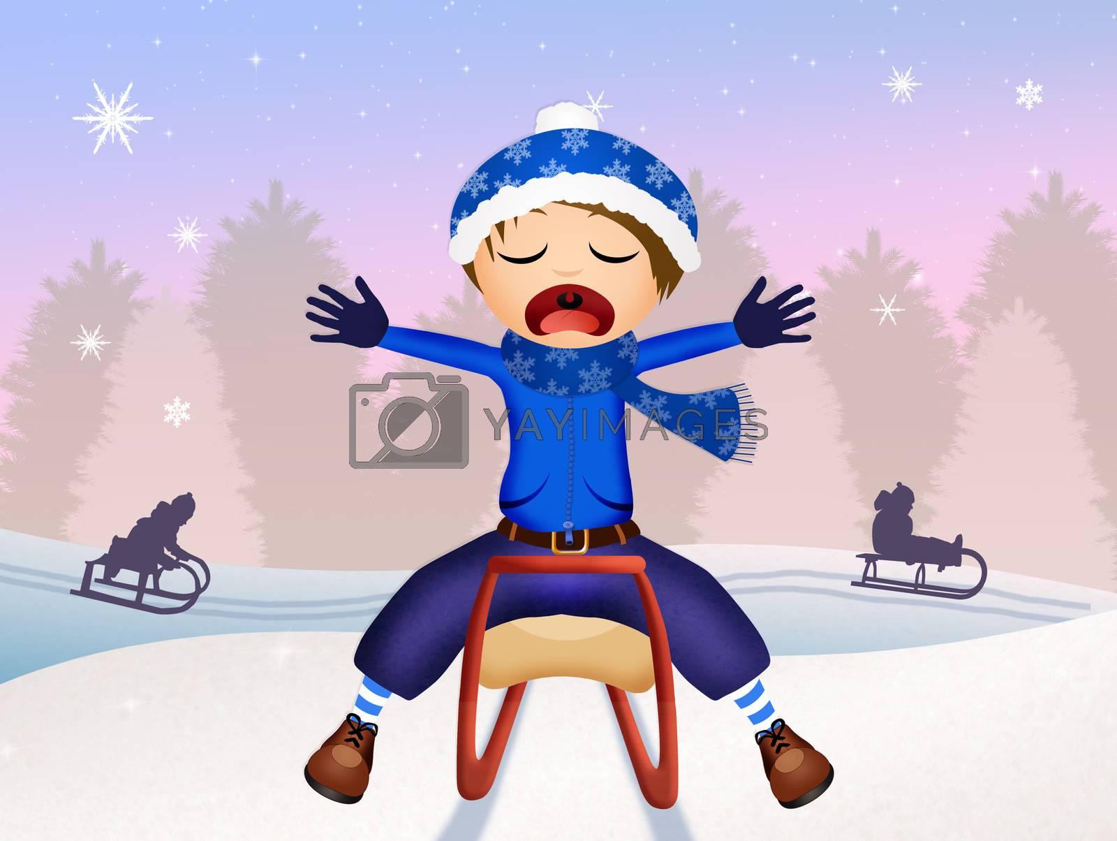 illustration of child on sleigh in winter