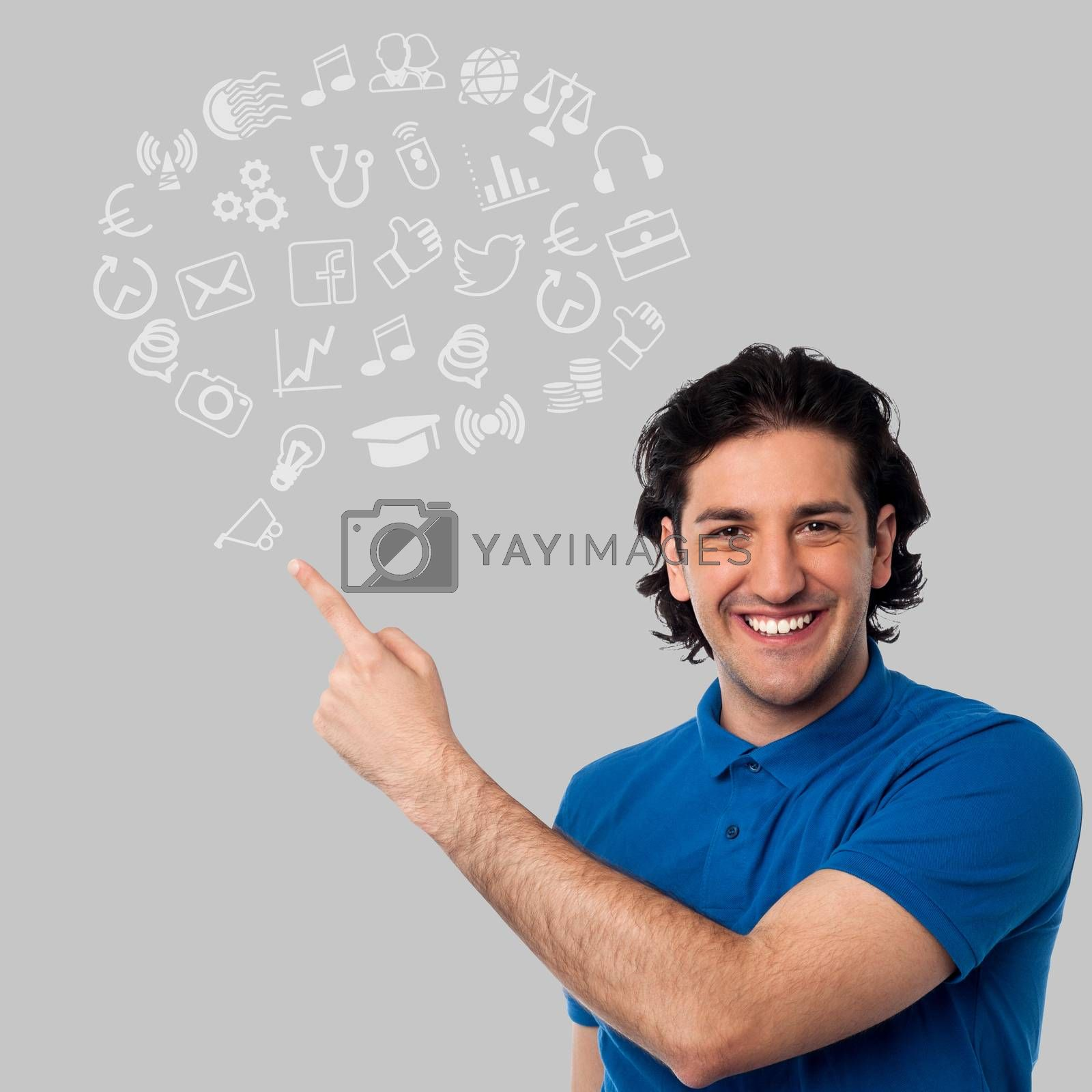 Smiling man showing set of business icons