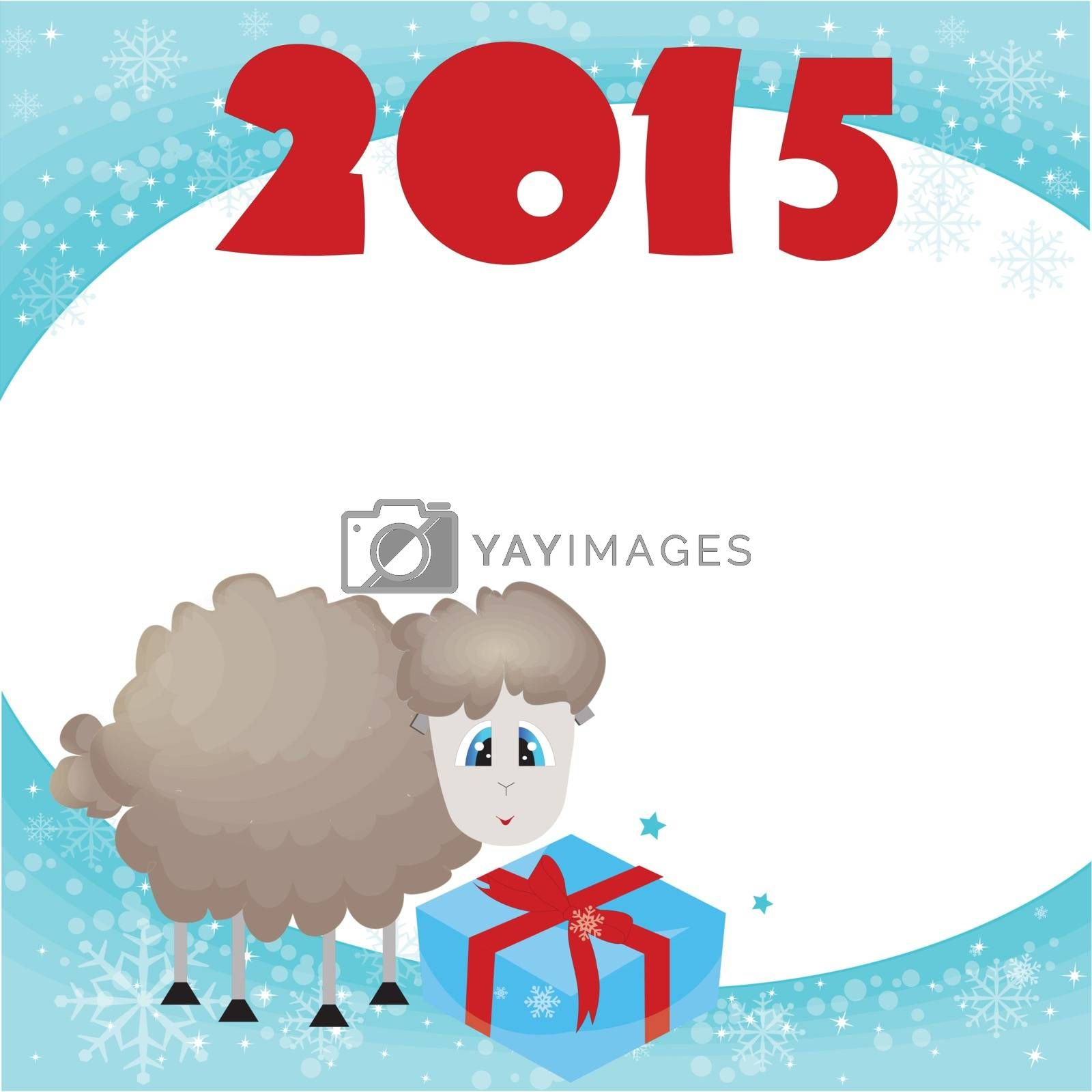 Happy new year vector illustration.decorative symbol of the new year,sheep and goat , 2015   Beautiful illustration.