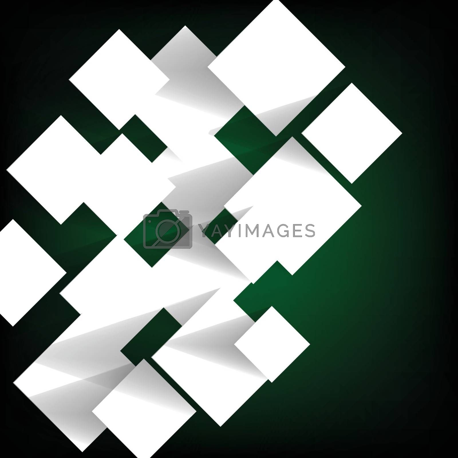Paper square banner on green background, stock vector