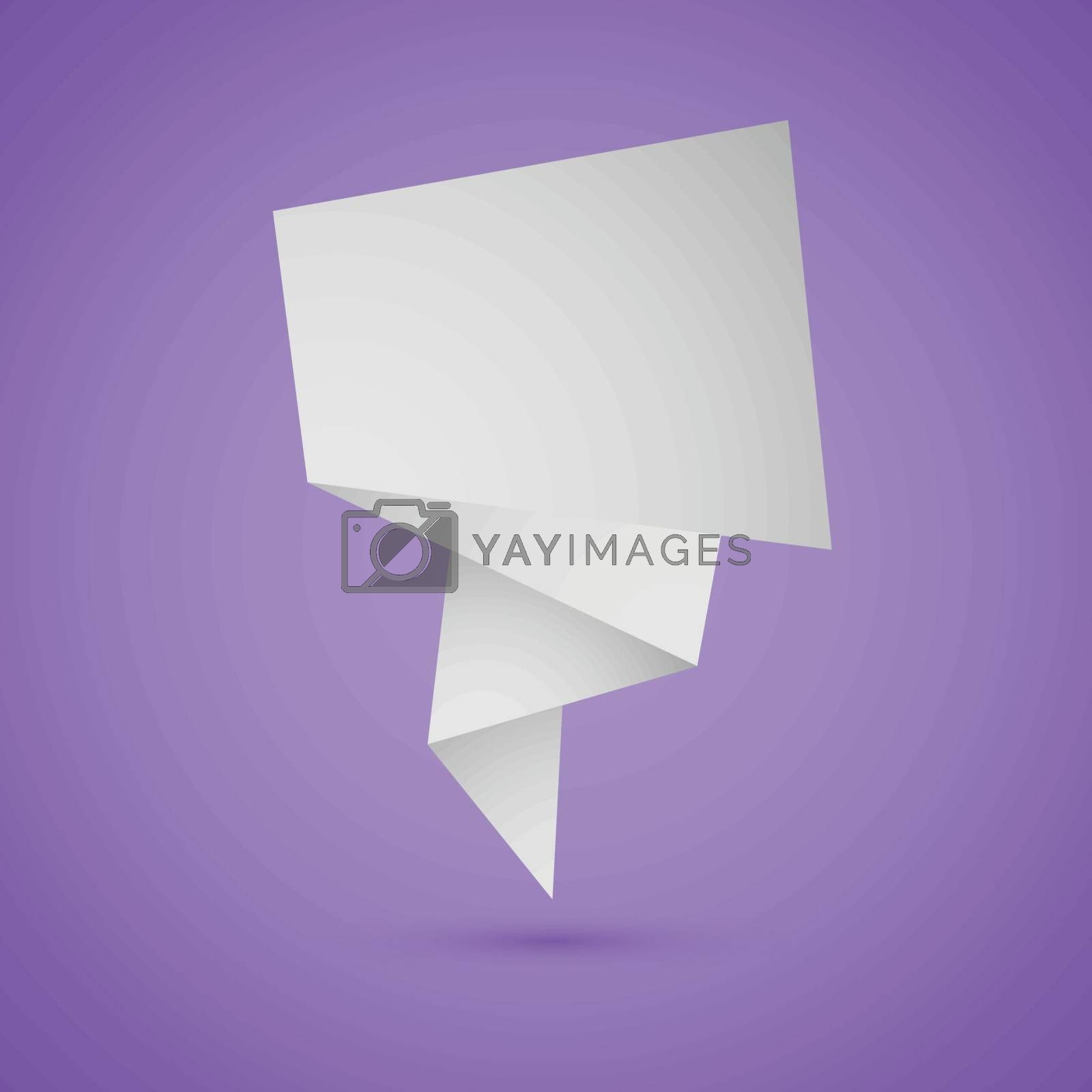 Abstract origami speech background on violet background, stock vector