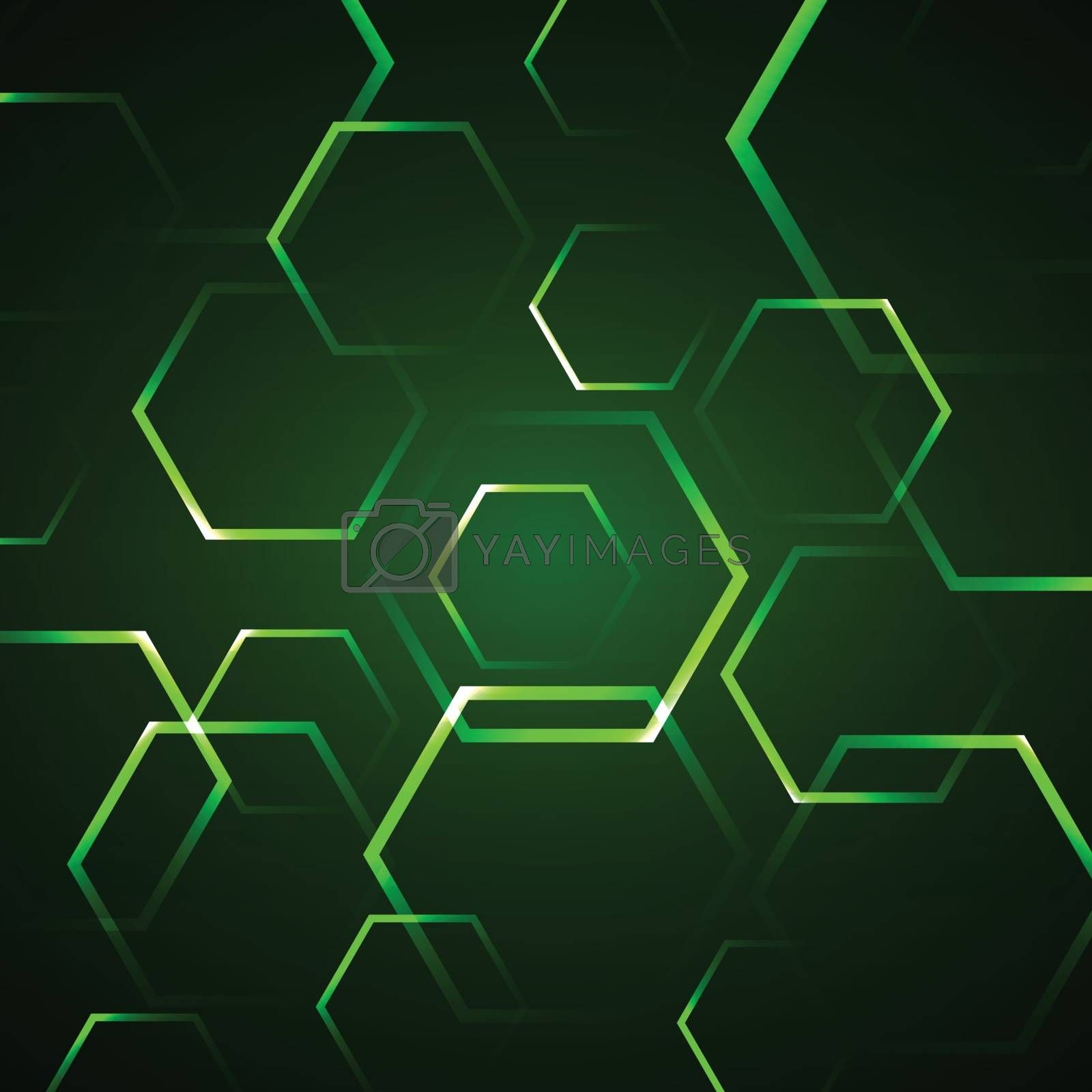Abstract background with green hexagon, stock vector