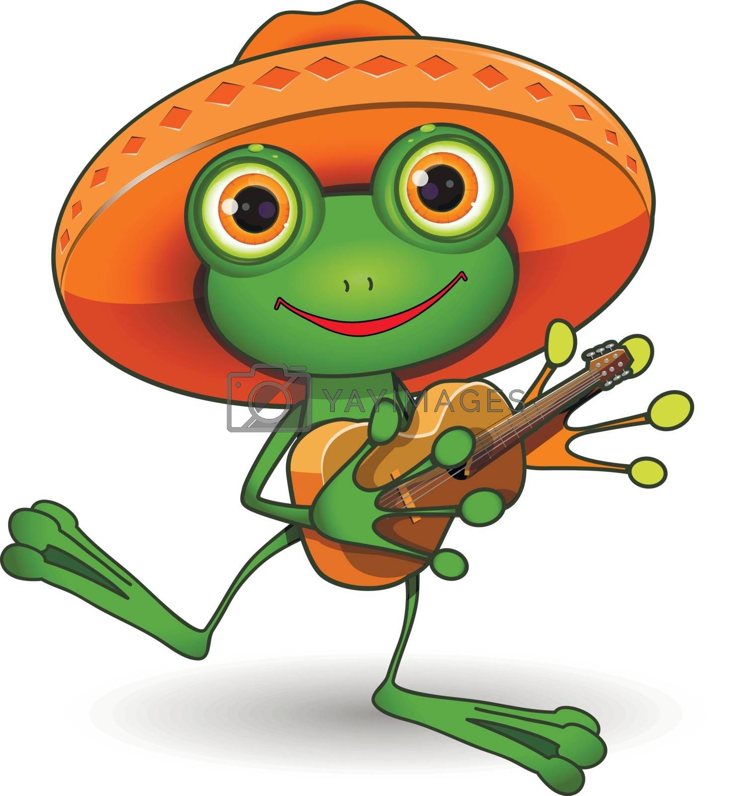 Illustration frog in a sombrero with a guitar