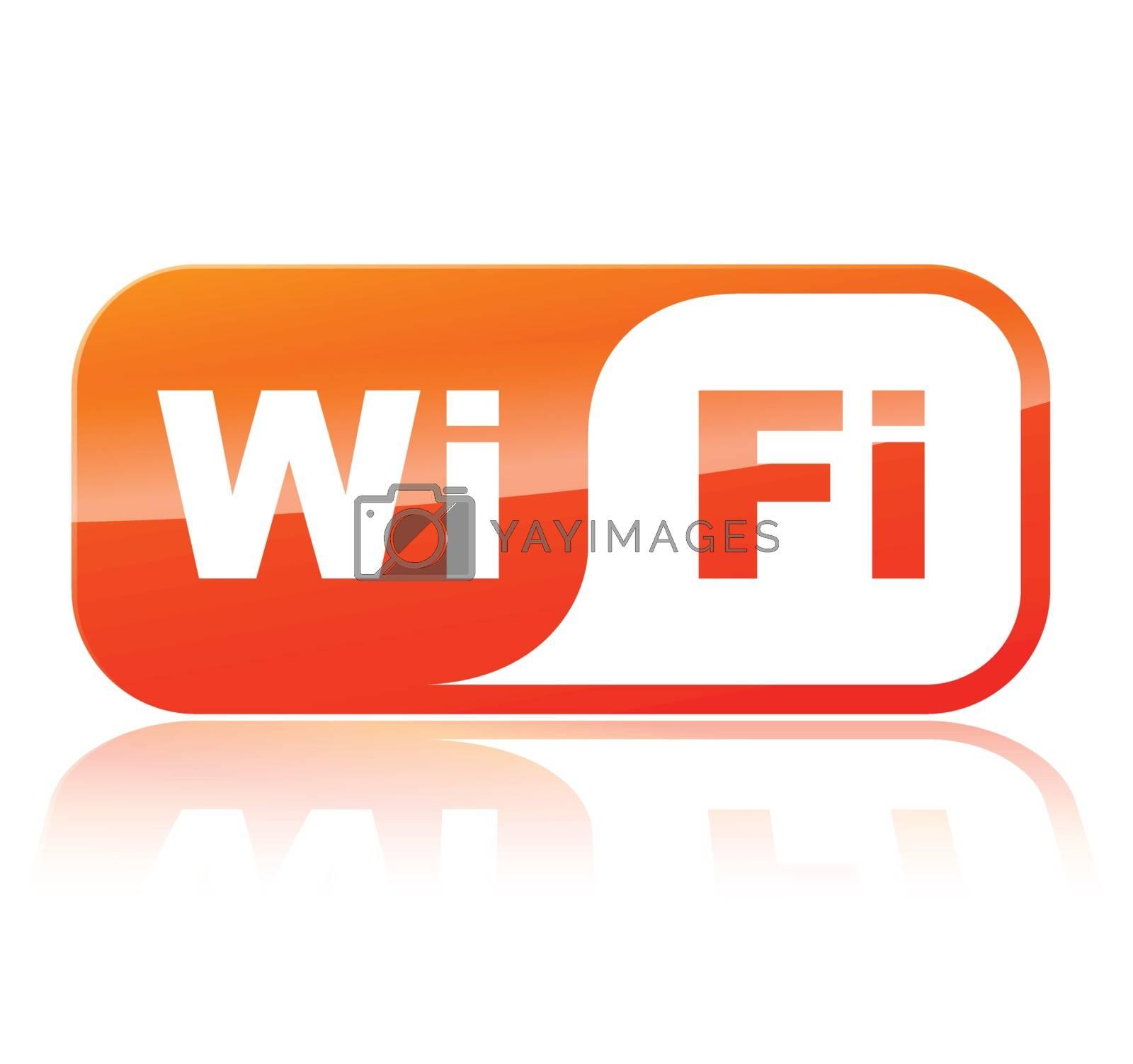 illustration of wifi orange icon on white background
