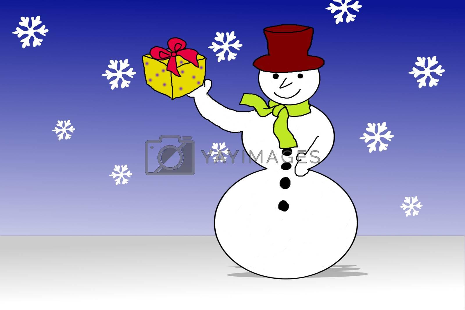 Santas snowman with Christmas gift