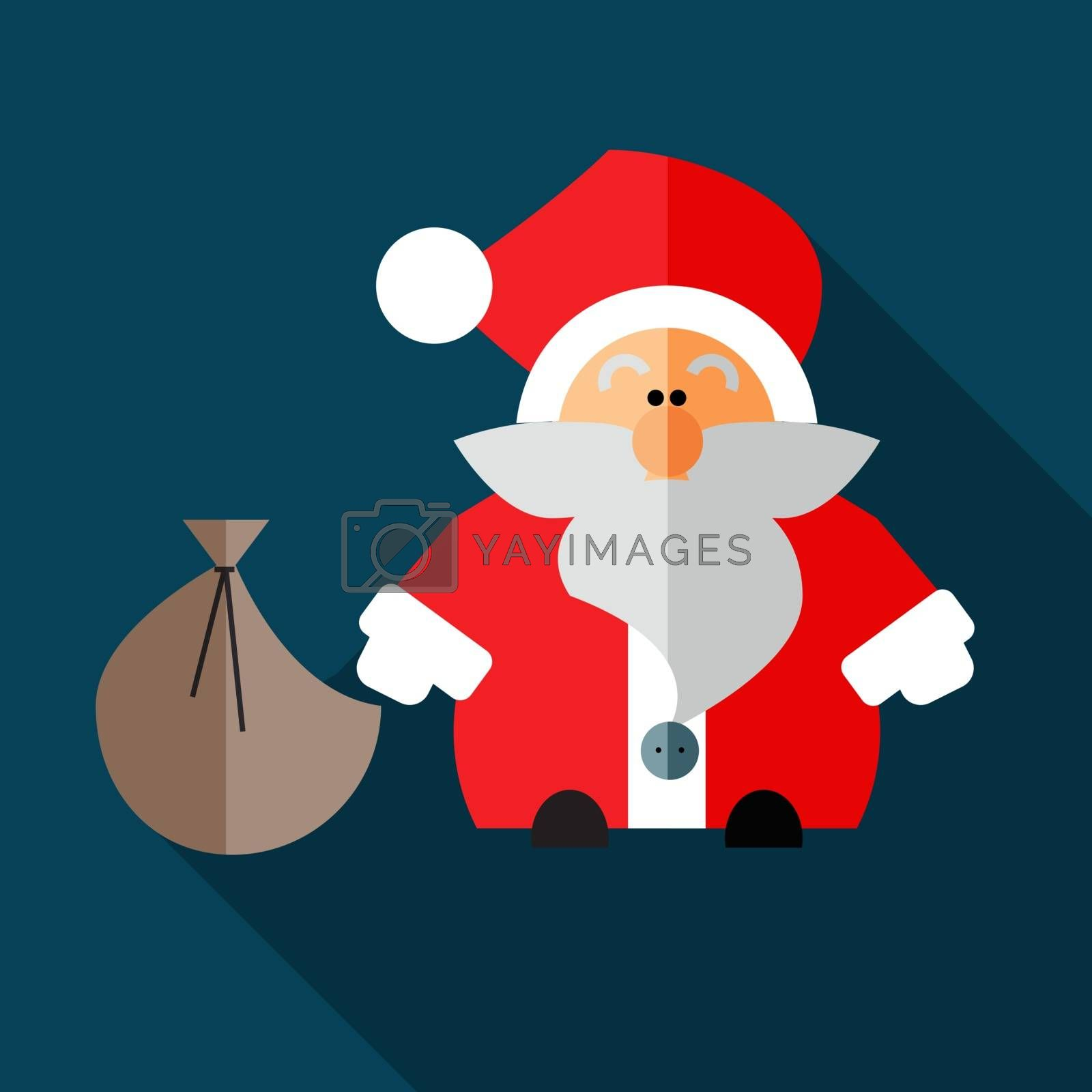 Santa Claus in abstract form with a bag of gifts