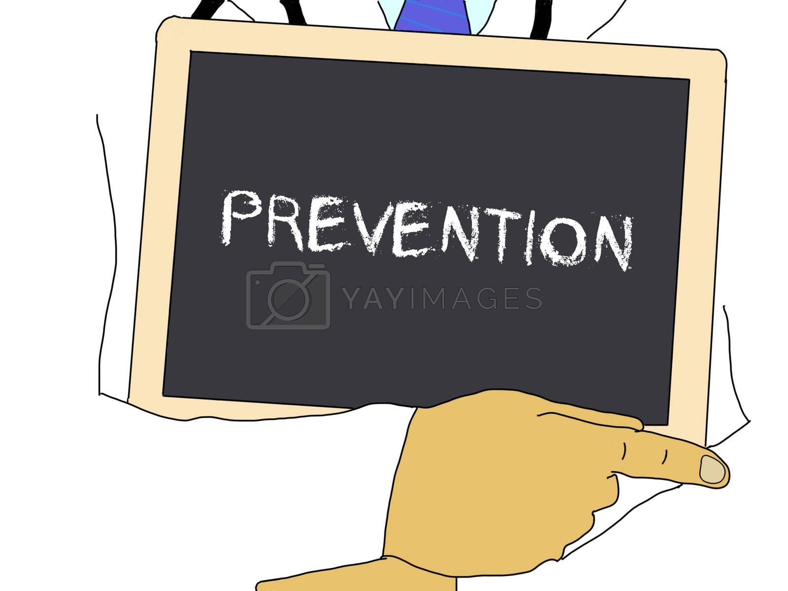 Illustration: Doctor shows information: prevention