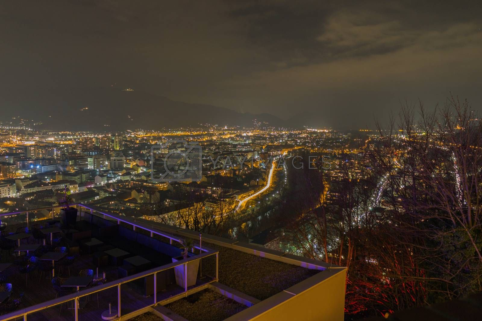Sea of lights over the city of Graz in the Styria, Austria