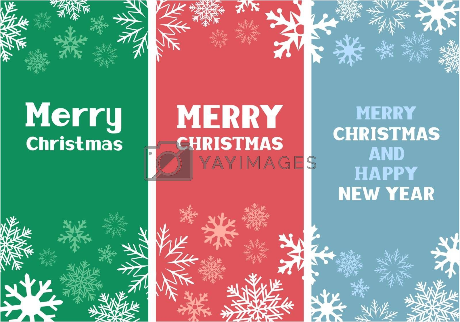 The multicolored Christmas paper cards with falling snow