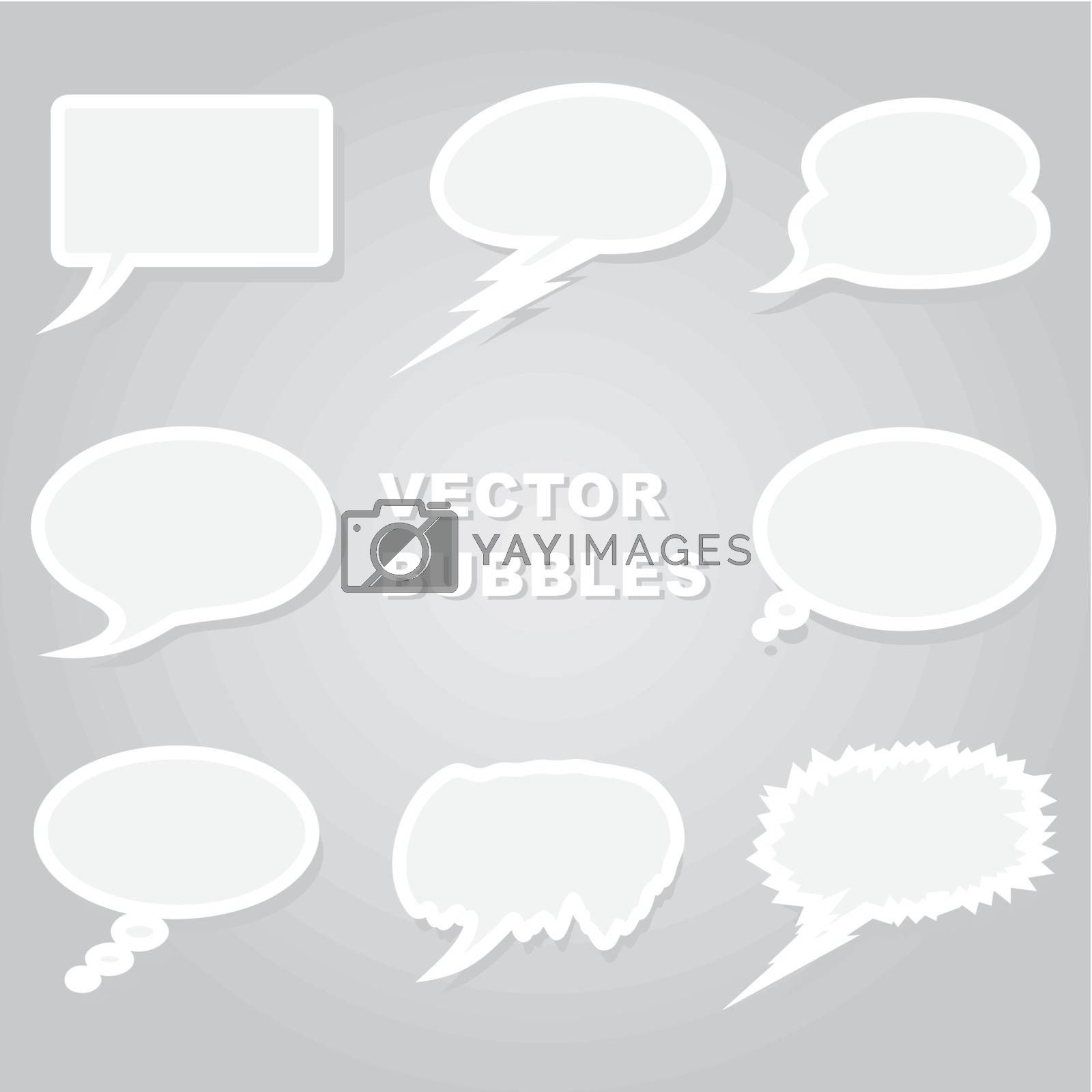 Set of icons of clouds for conversation.
