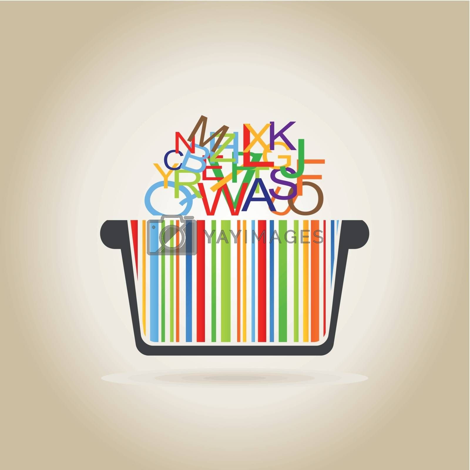 basket with rainbow letters on a yellow background