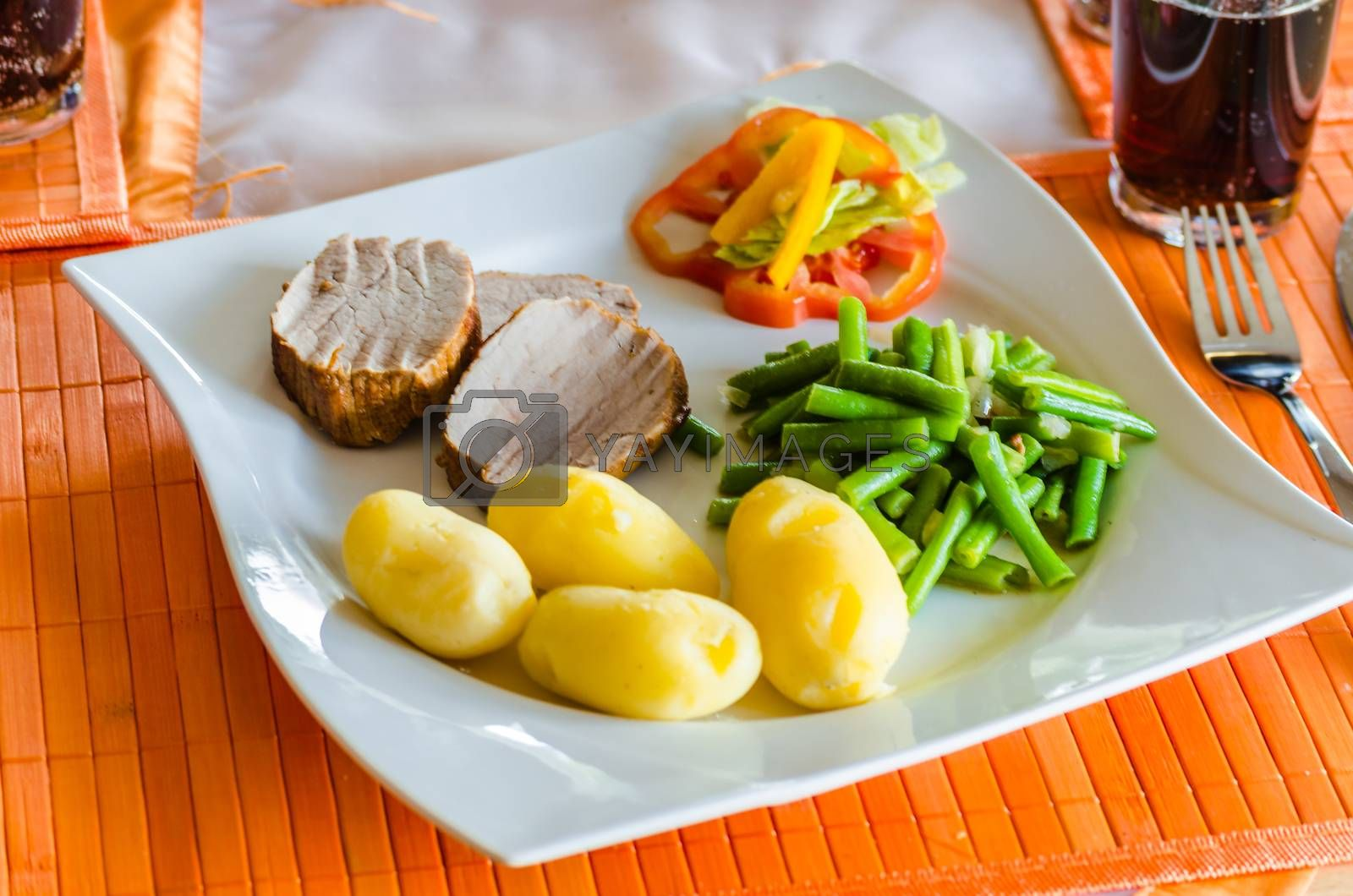 Fresh roast pork with potatoes on a white plate.
