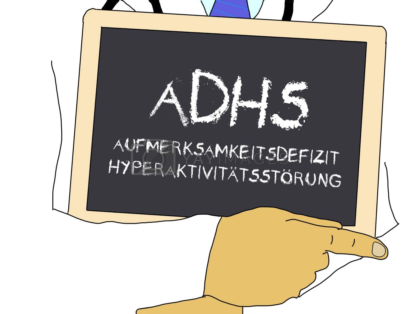 Illustration: Doctor shows information: adhd in german