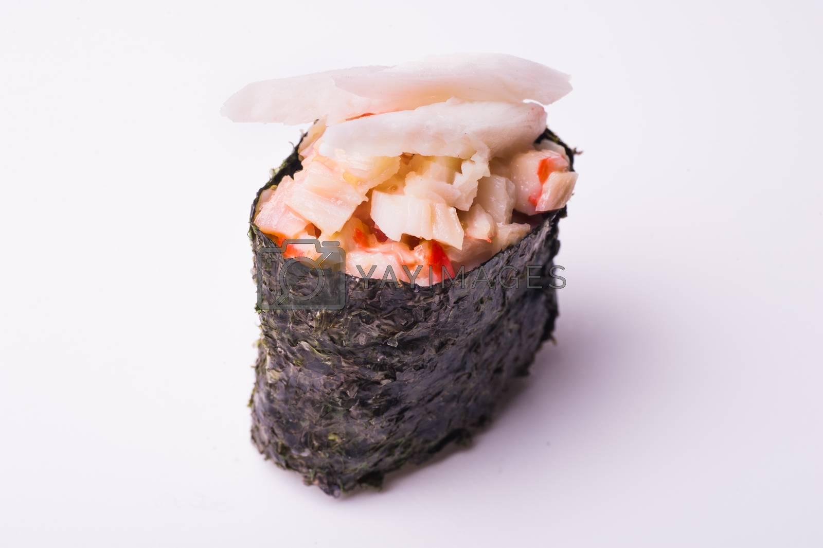 crab gunkan sushi isolated on white background
