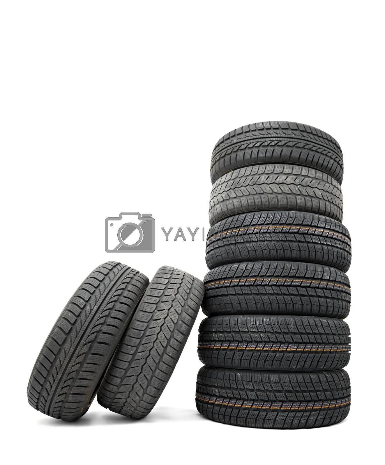 A set of new winter tyres