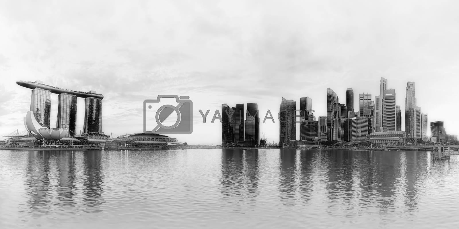 Black and white panorama of Singapore city skyline