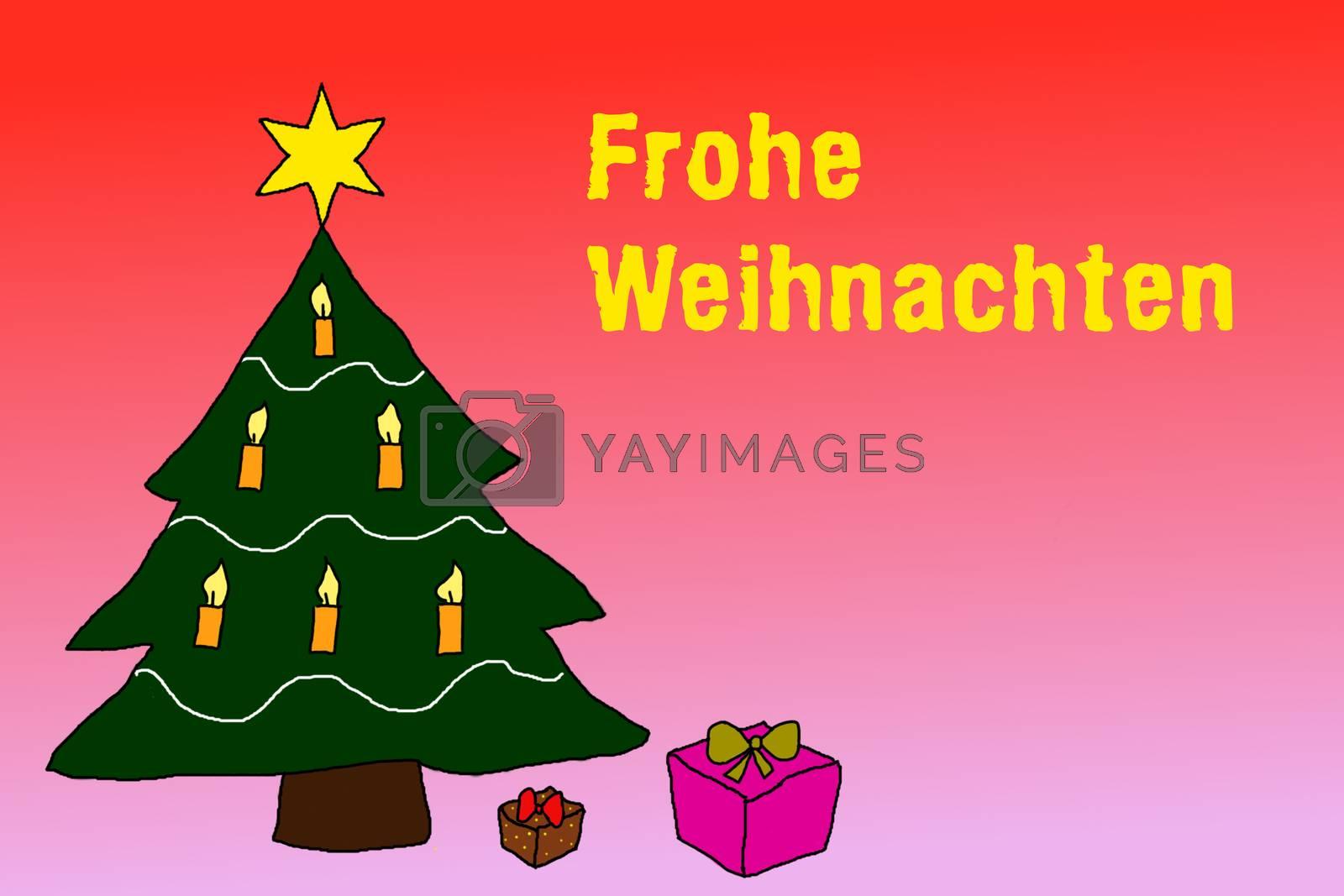 Illustration: Wishing Merry Christmas in german language
