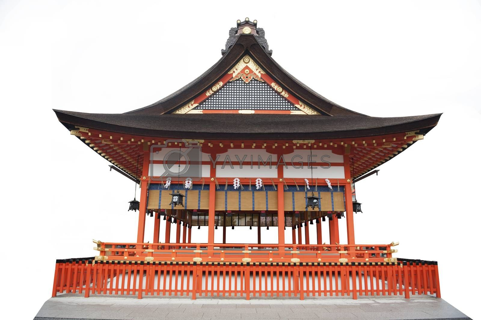 Japanese temple white background