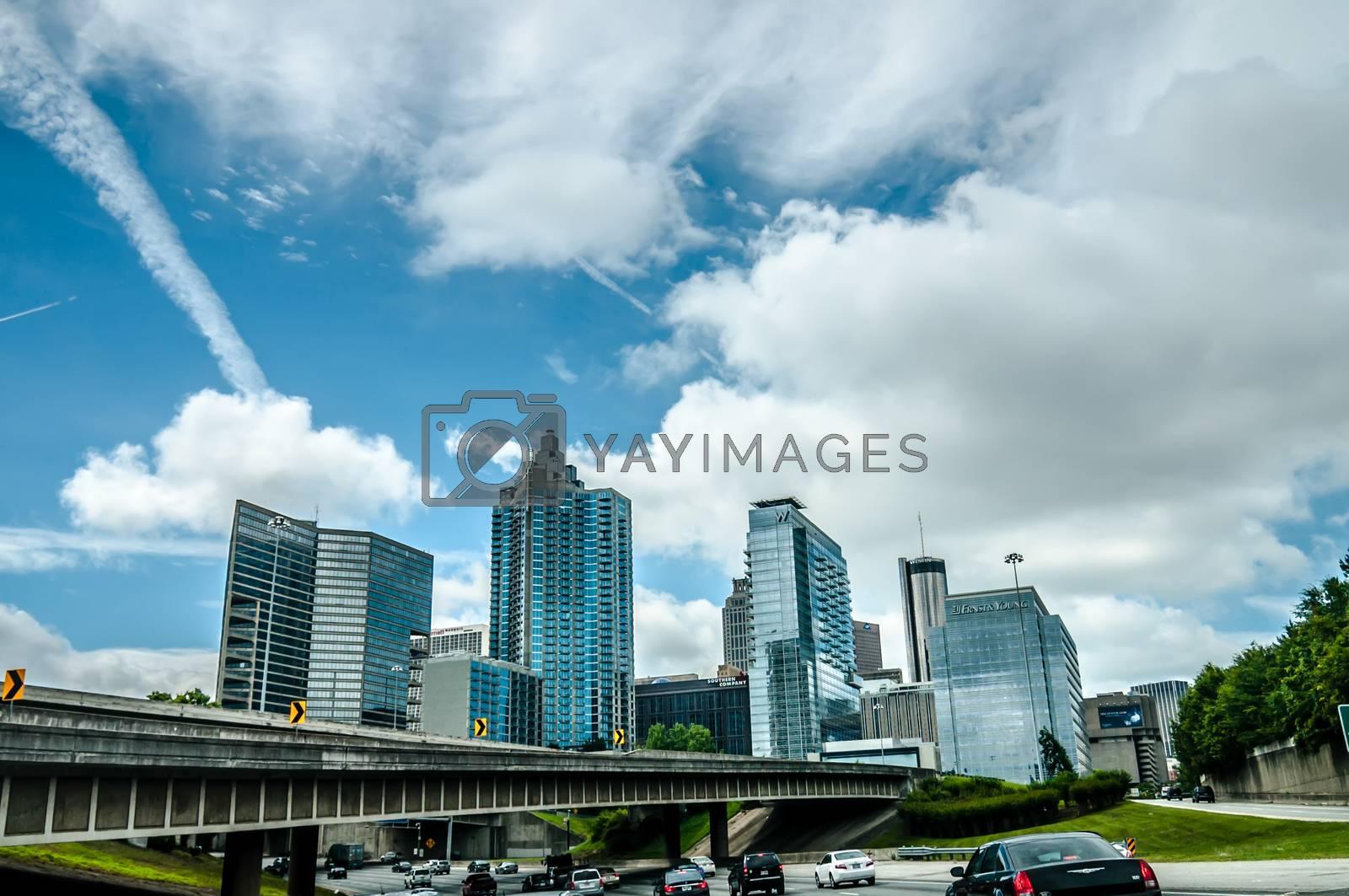 view of atlanta skyline from highway