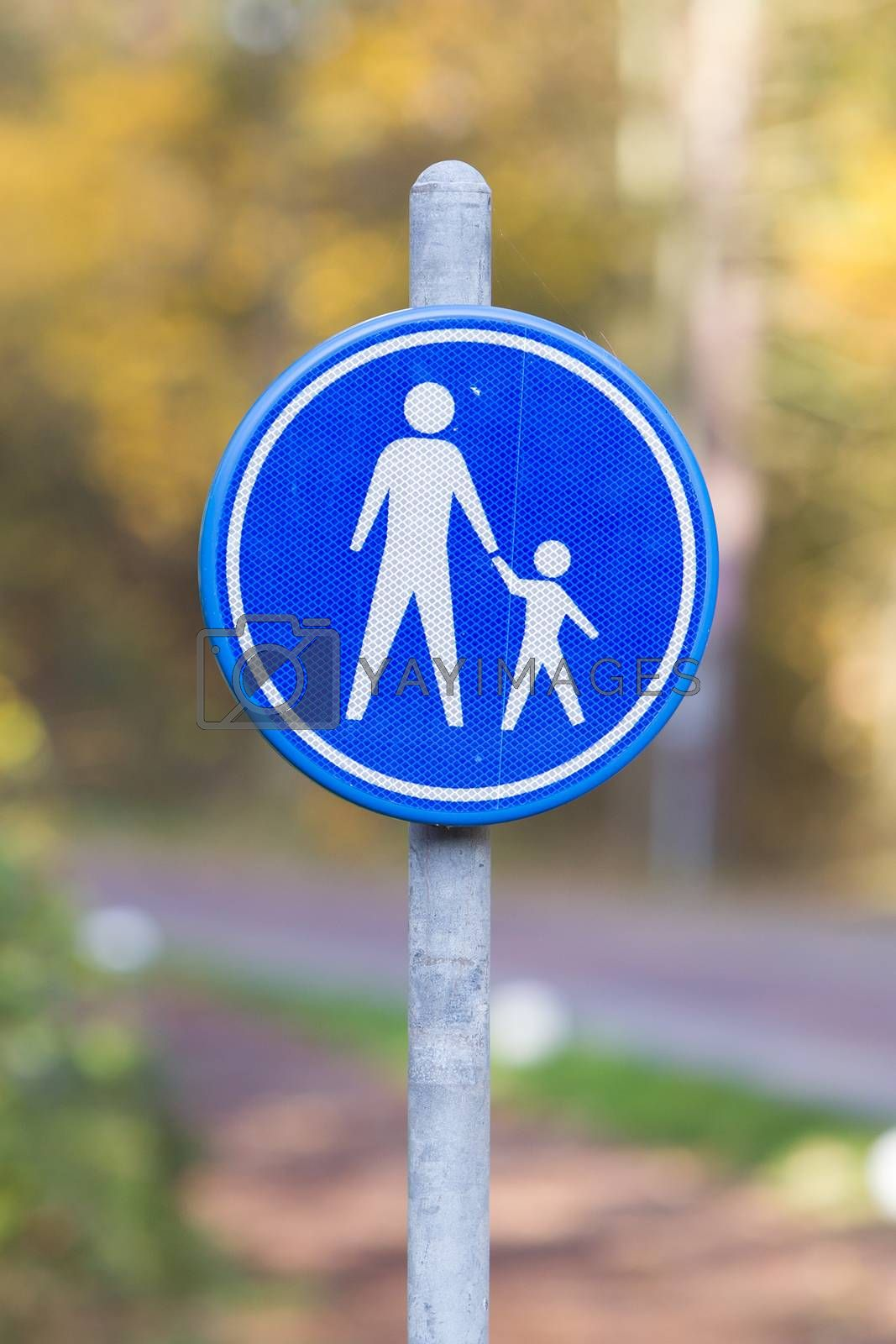 Pedestrian with children on road sign, the Netherlands