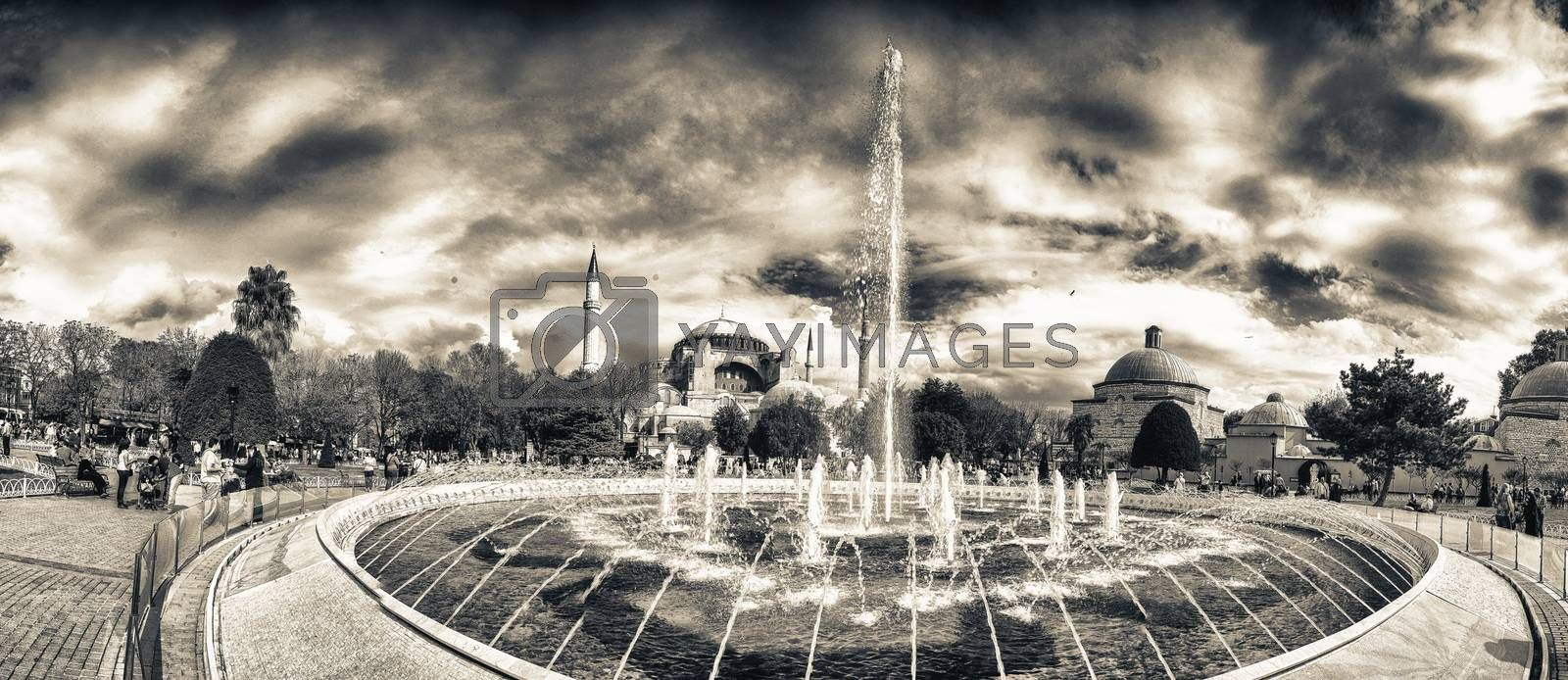 Wonderful view of Sultanahmet Square Fountain with Hagia Sophia on background - Istanbul, Turkey.