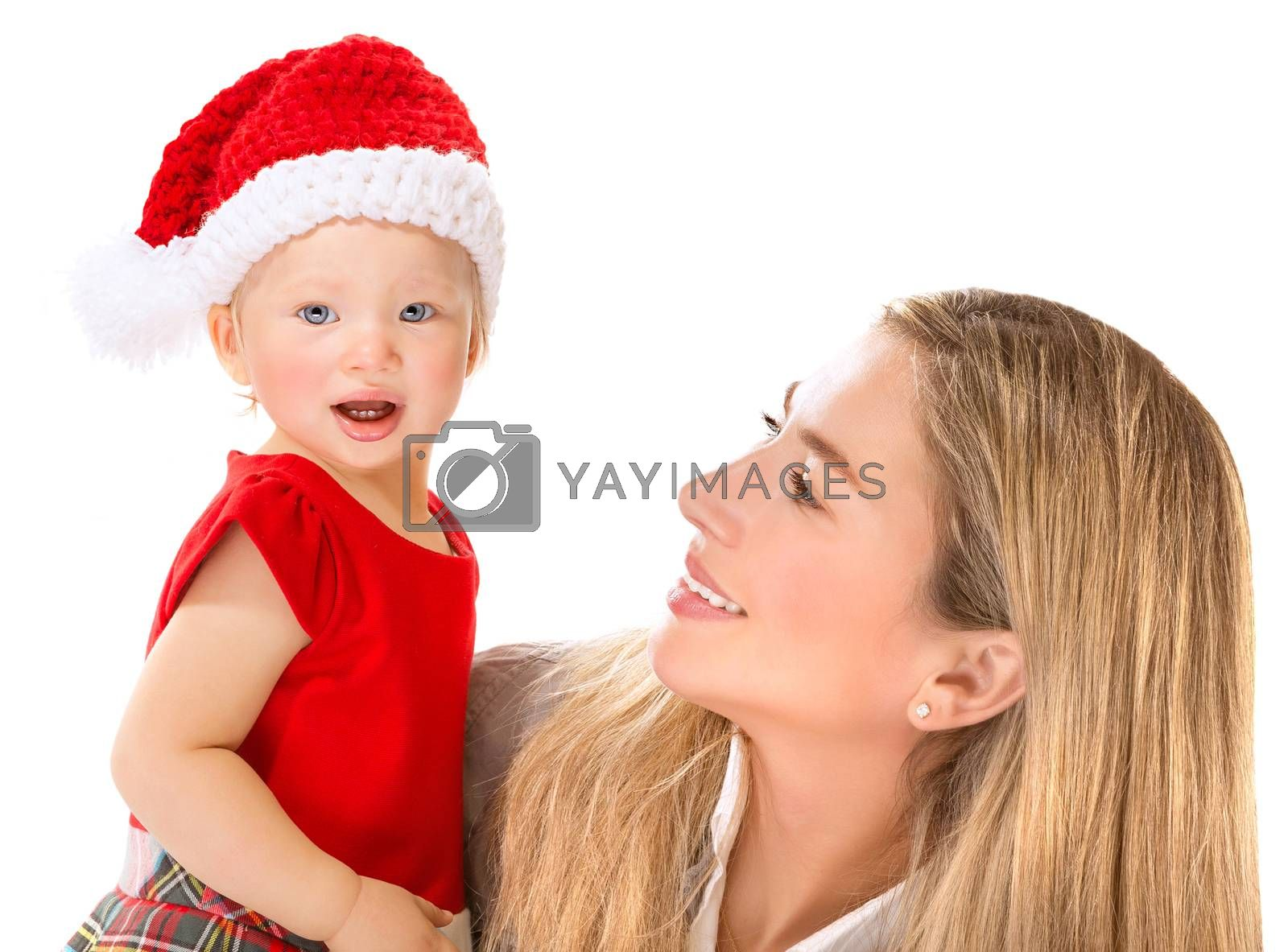 Portrait of beautiful happy mother with cute little Santa girl isolated on white background, nice costume for Christmas holiday celebration