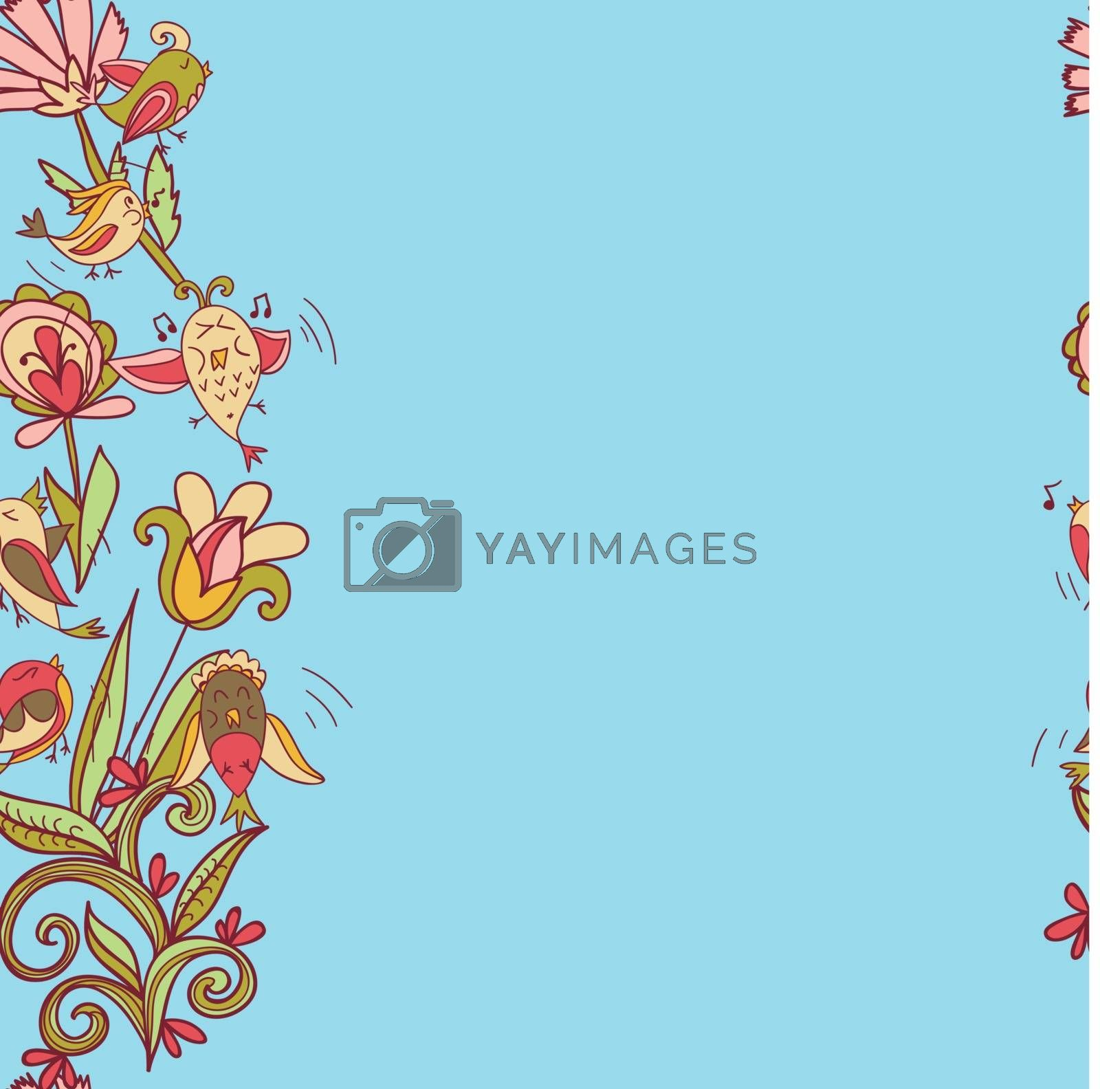 flowers and birds seamless texture pattern border by LittleCuckoo