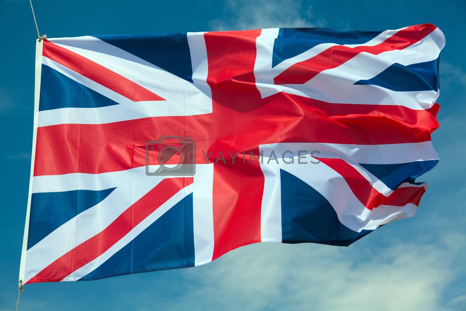 Great Britain flag against blue sky
