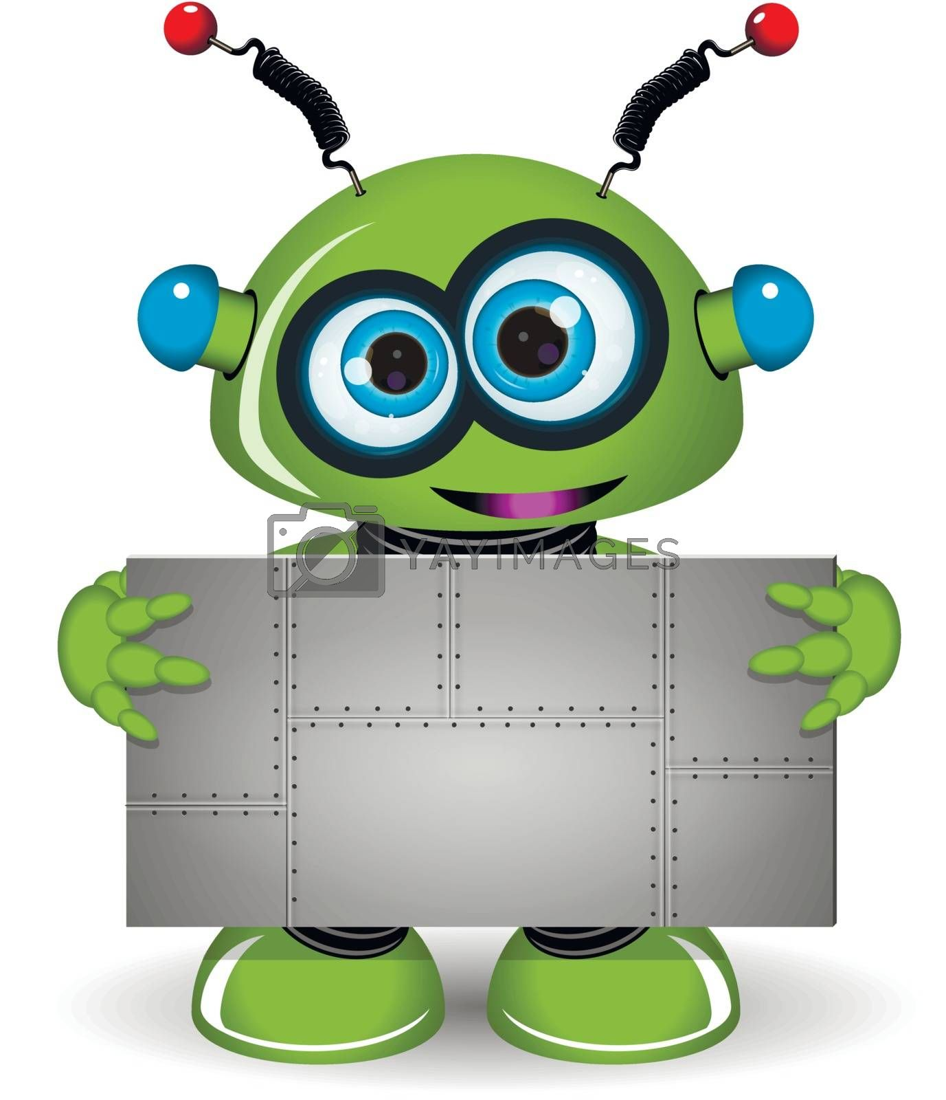 Illustration green robot with a metal background