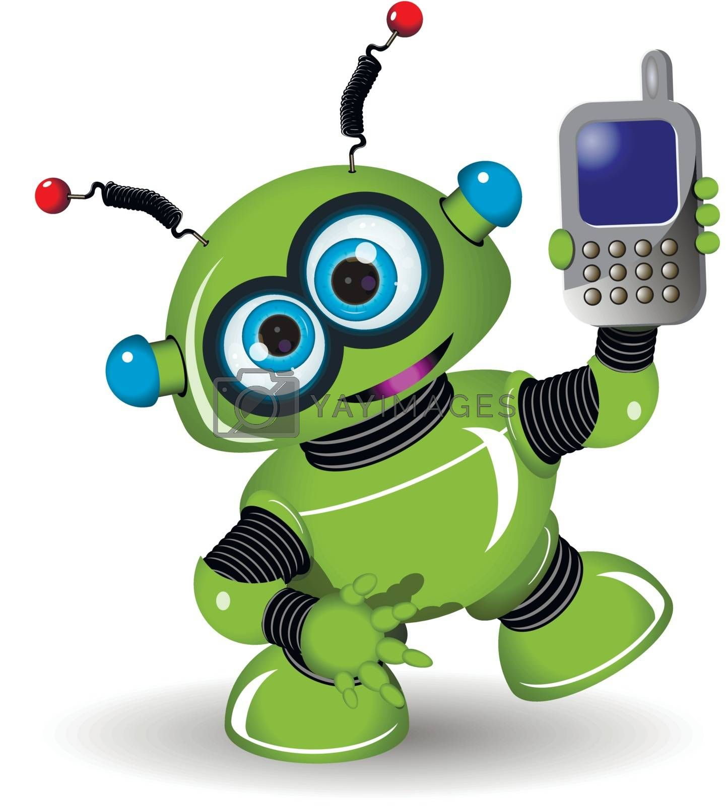 Illustration cheerful green robot and a phone