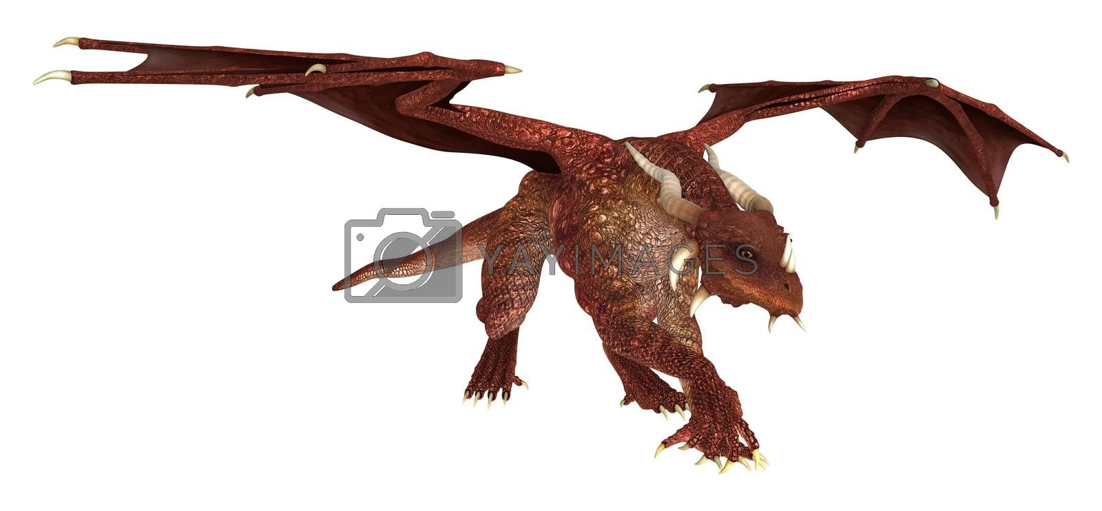 3D digital render of a red fairytale dragon isolated on white background