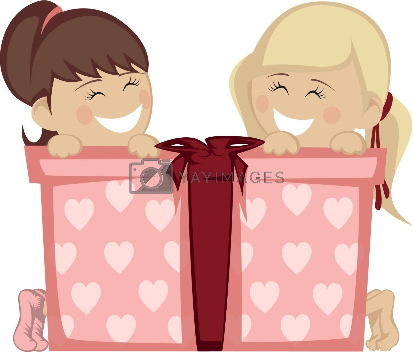 Two little girl (blonde and brunette haired) smiling with a big gift box.