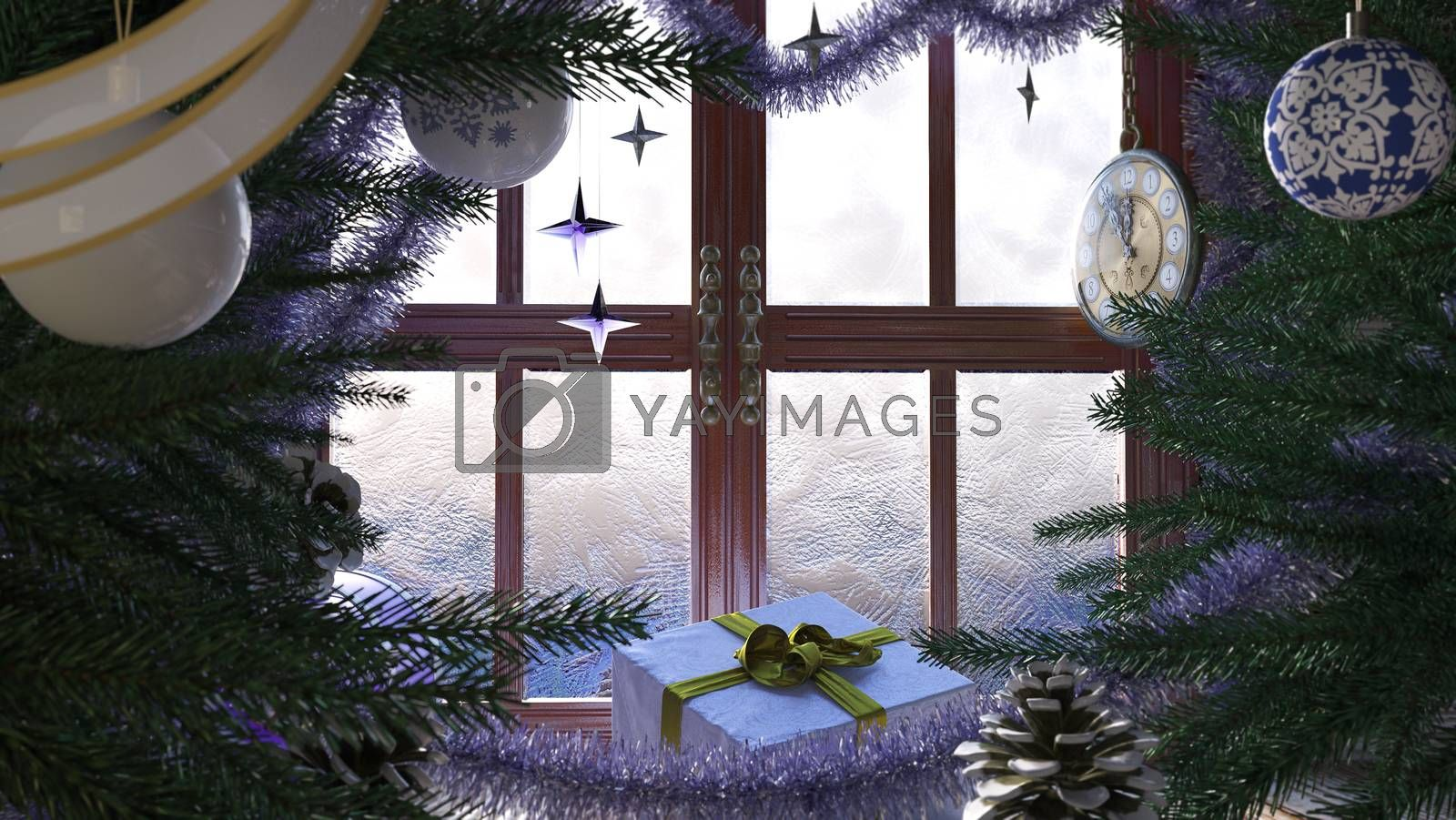 Christmas tree with gifts,window and clock concept composition