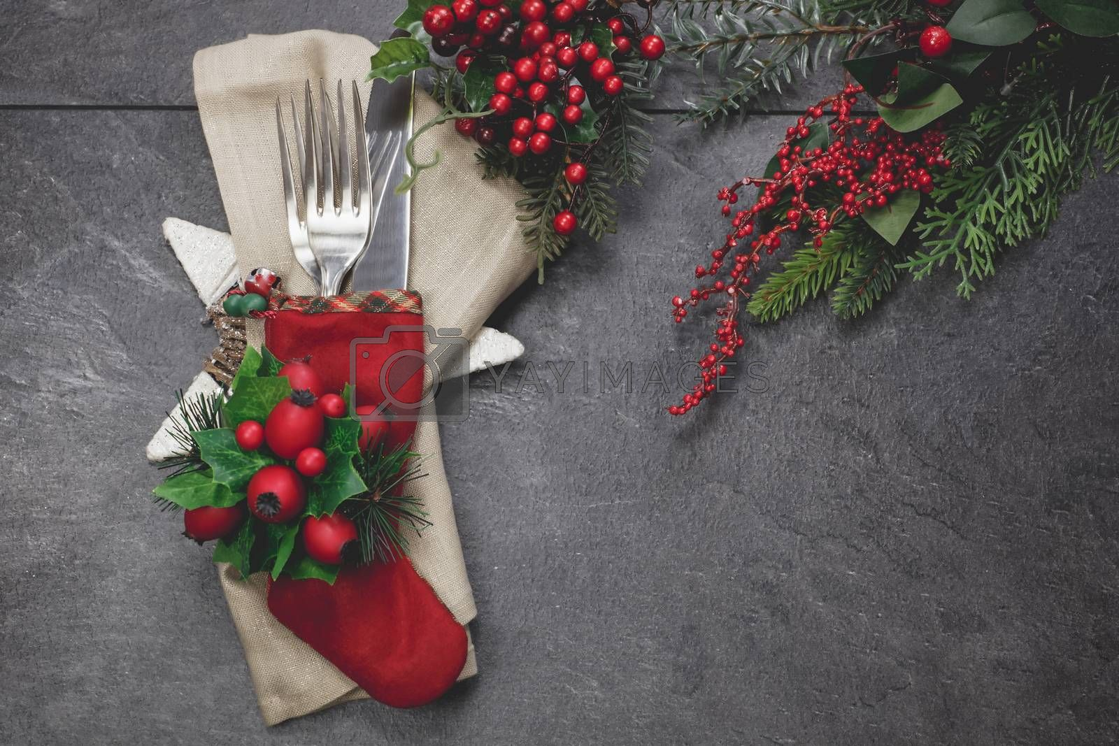 Christmas stocking place settings with festive decorations.Christmas vintage concept. Copy space for your text