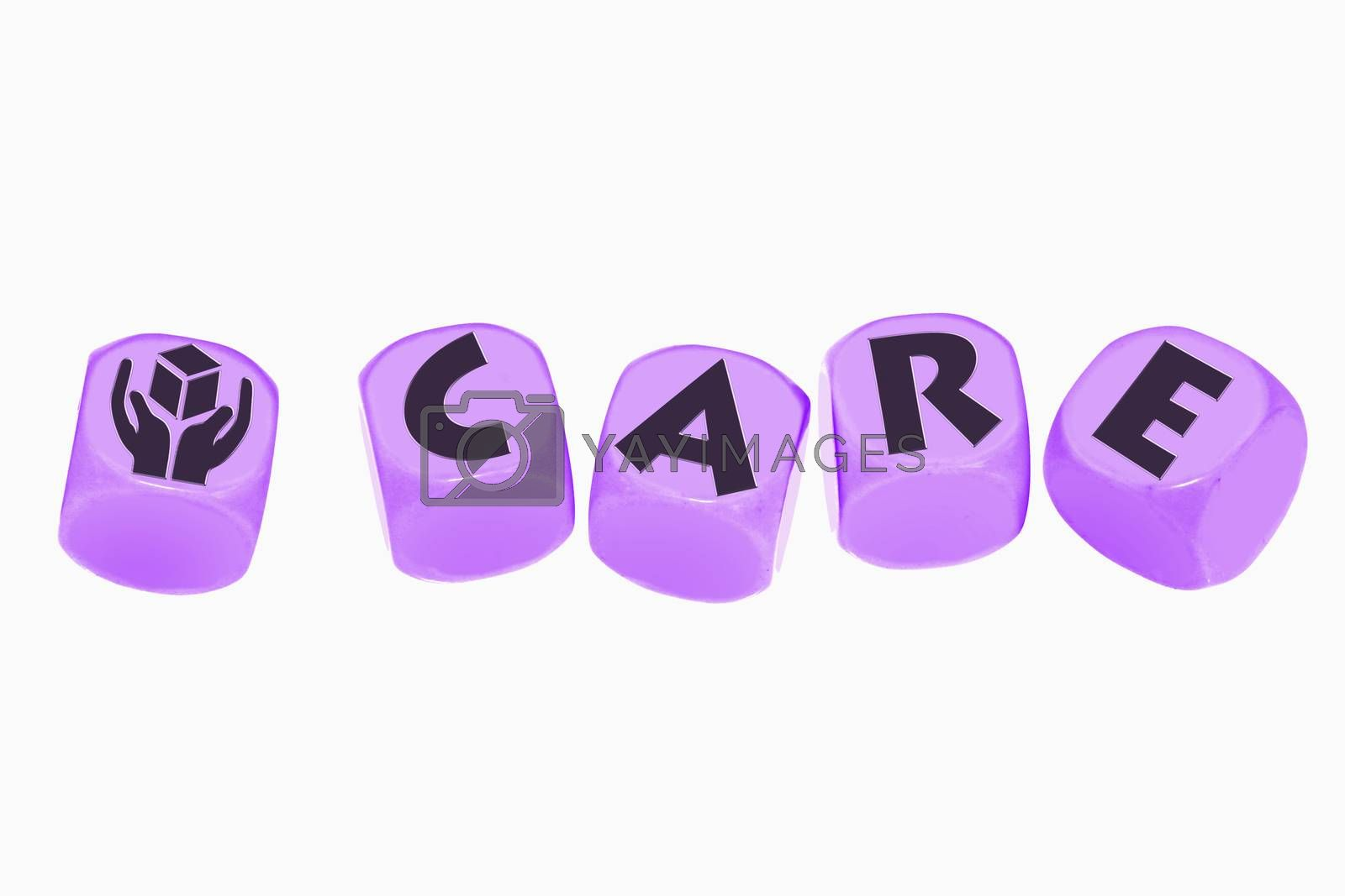 word CARE on cubes