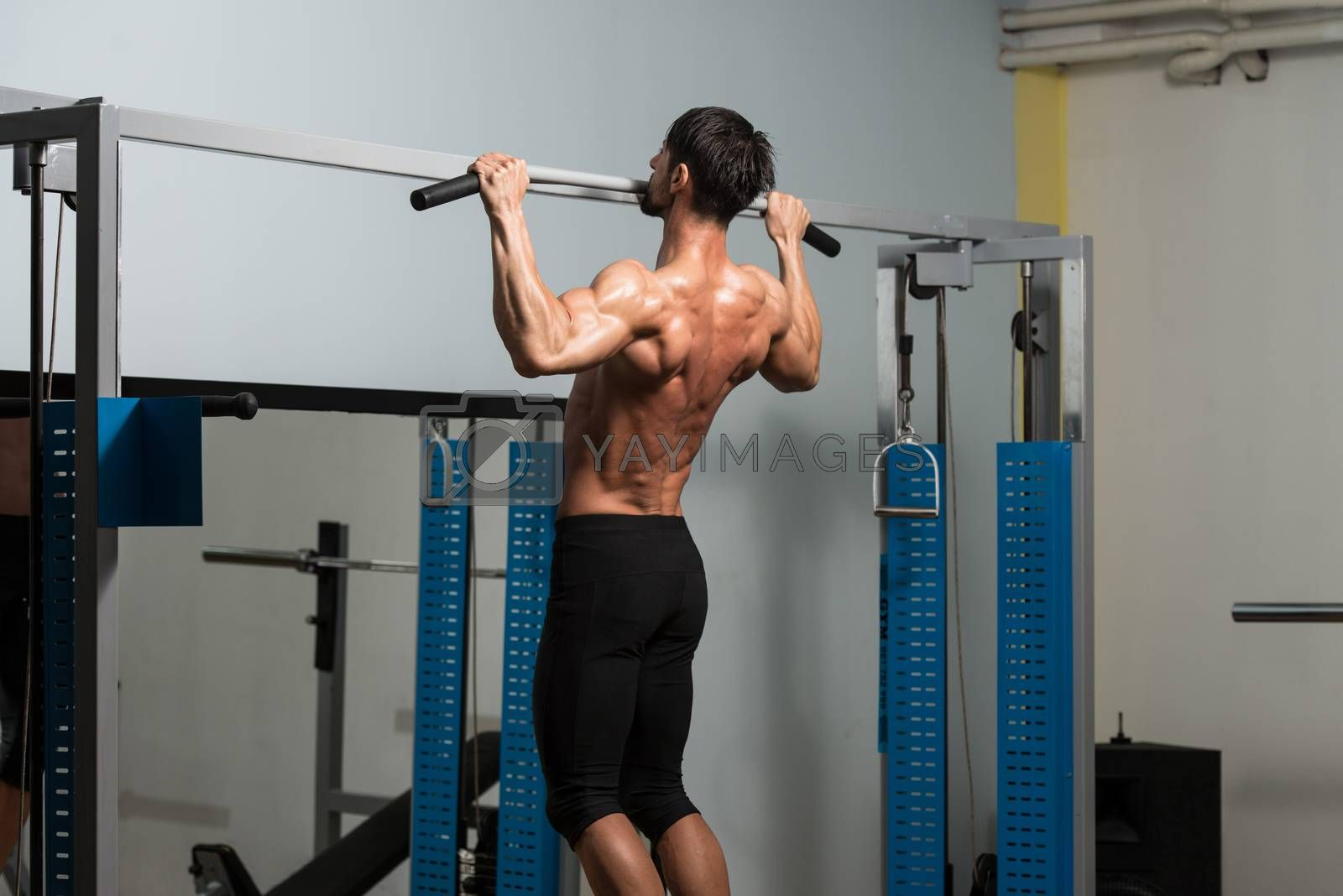 Male Fitness Athlete Doing Heavy Weight Exercise For Back