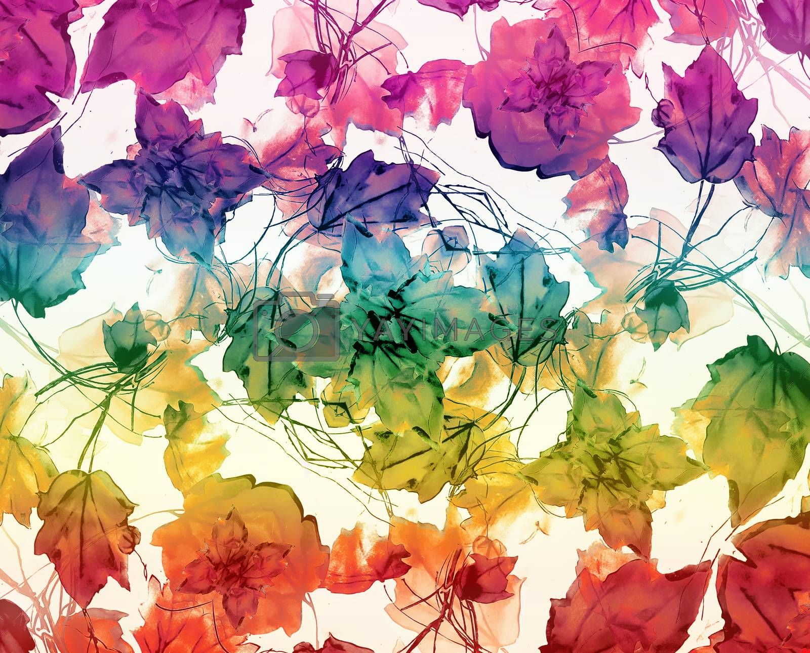 Beautiful decorative floral swirls motif pattern in soft multicolored watercolor tones and white background.