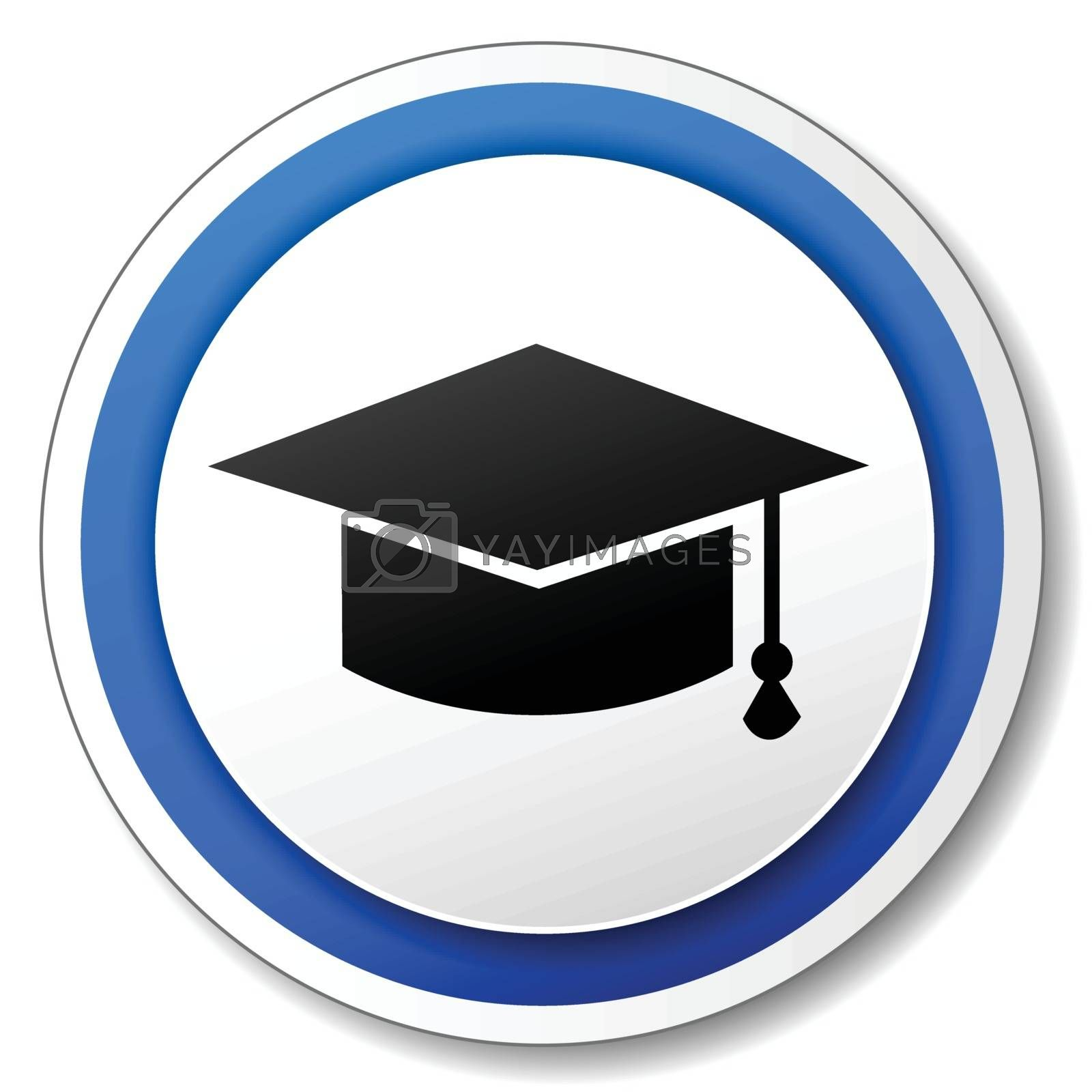 illustration of circle blue icon for education